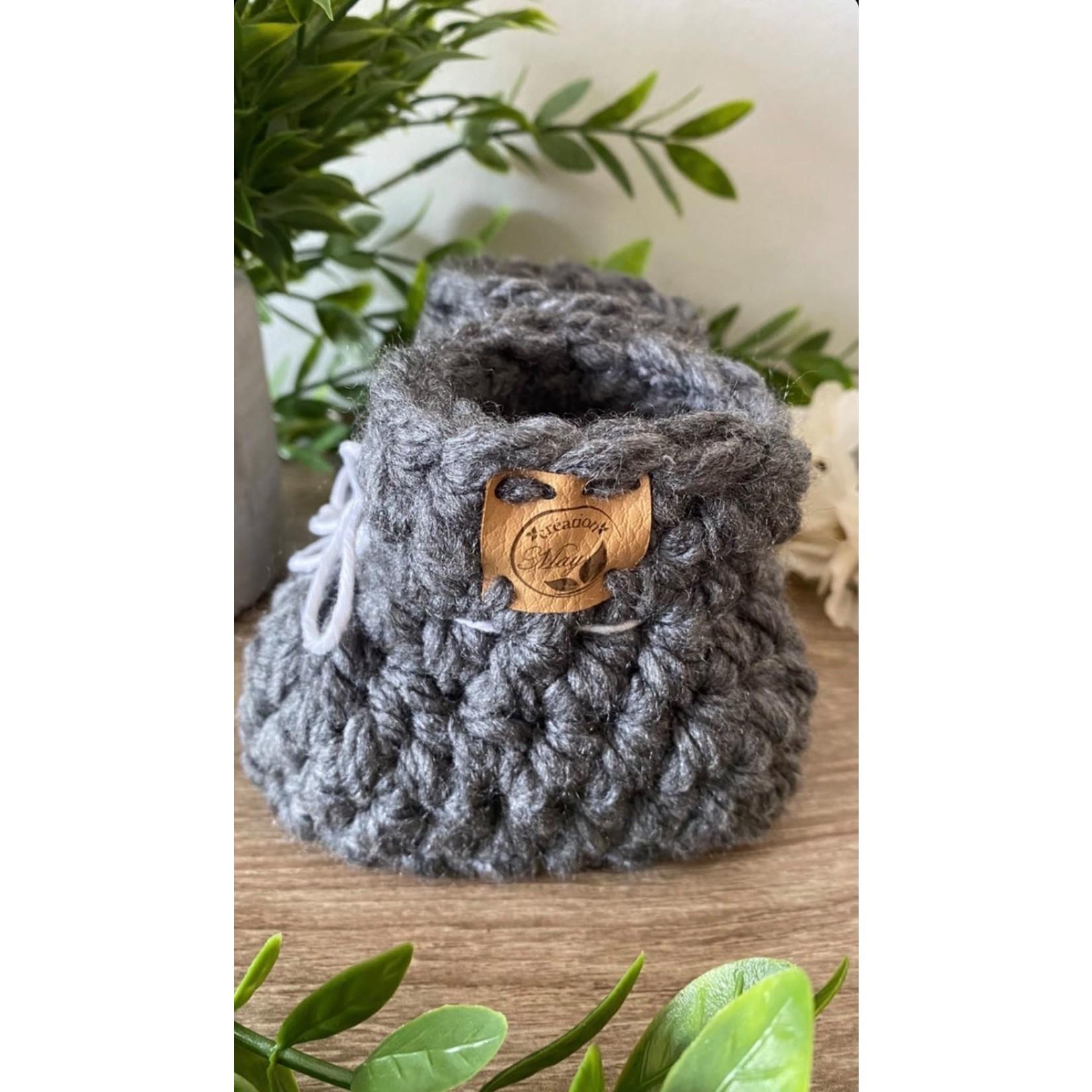 Création May || Pantoufles en tricots Granite 0-6m