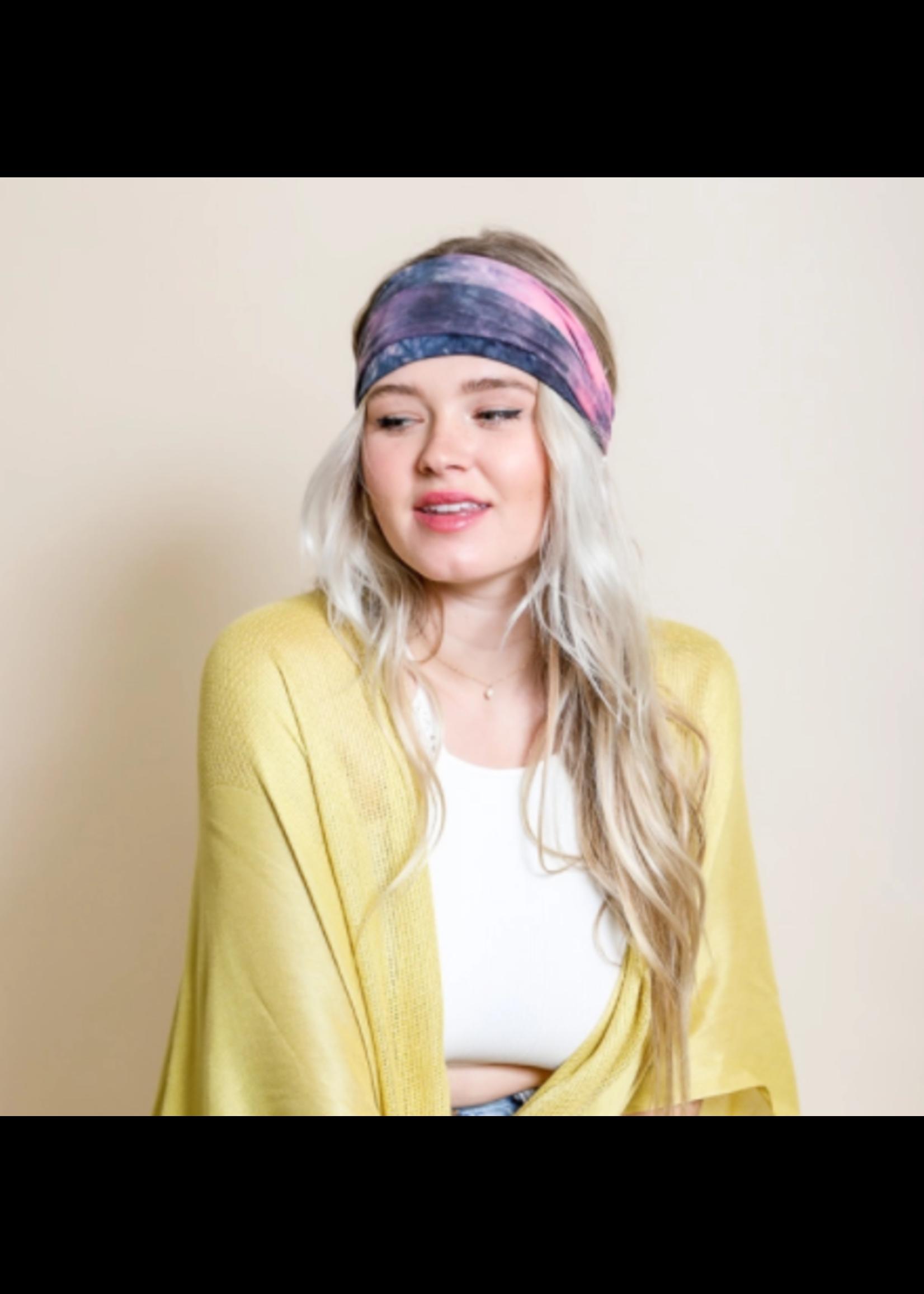 Leto Accessories Wide Tie Dye Headwrap
