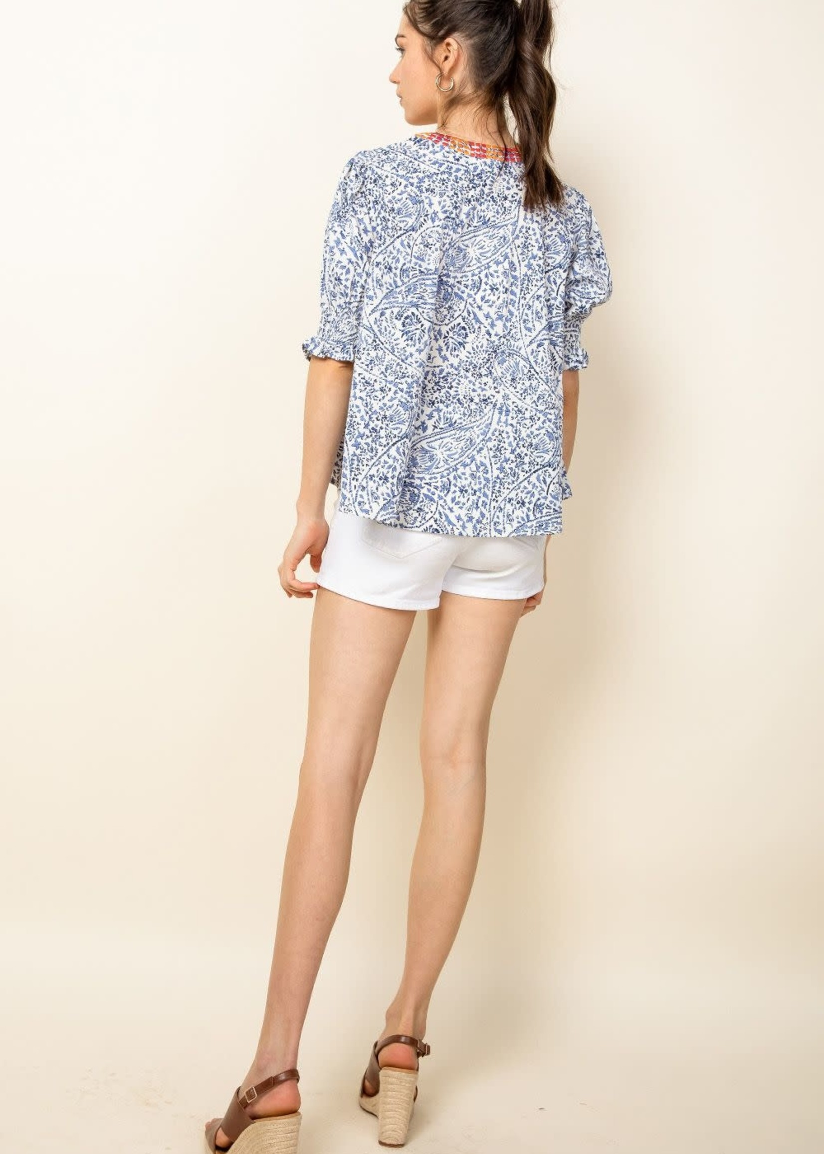 THML Printed V-Neck Top