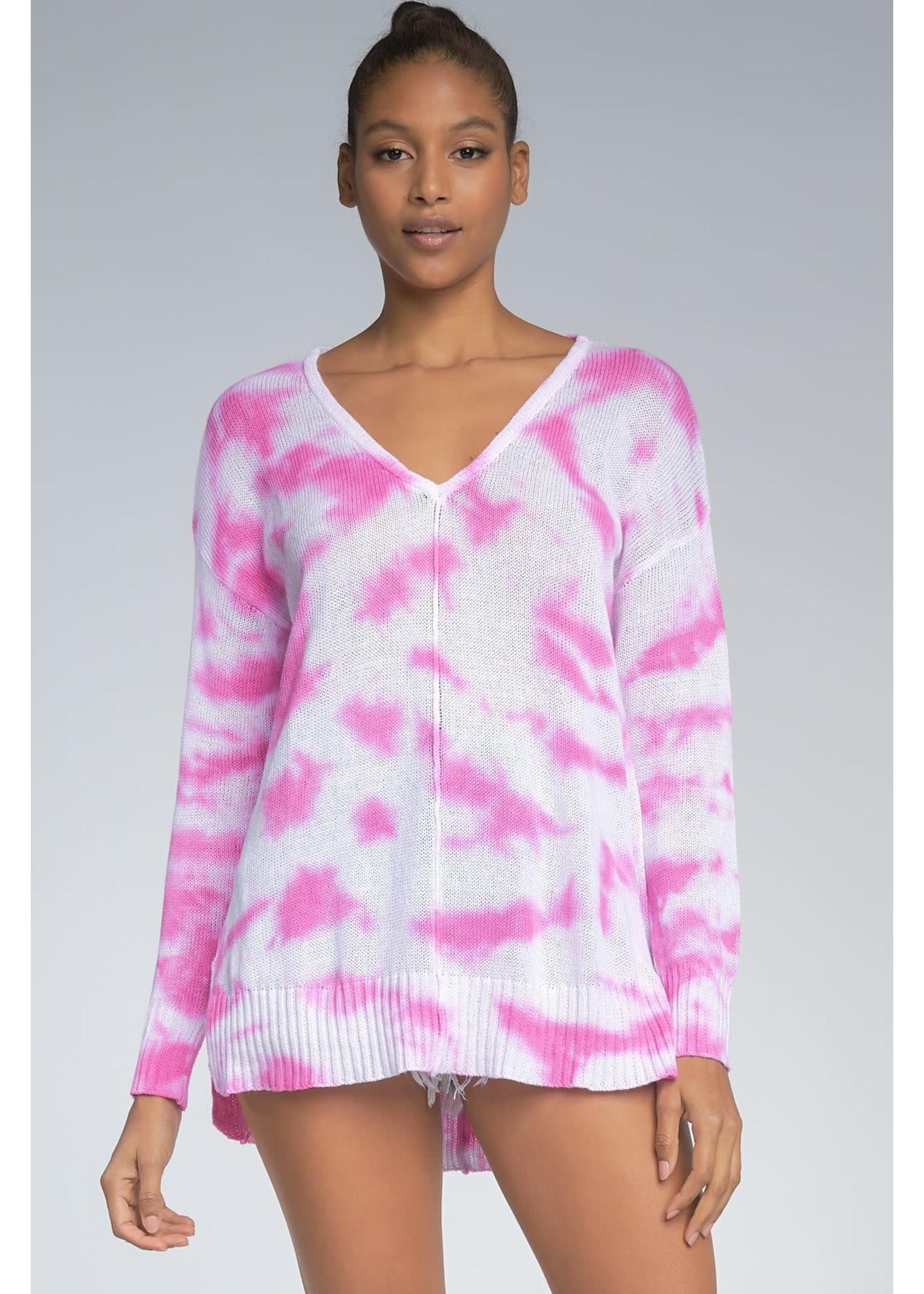 Elan Pink Tie Dye Sweater