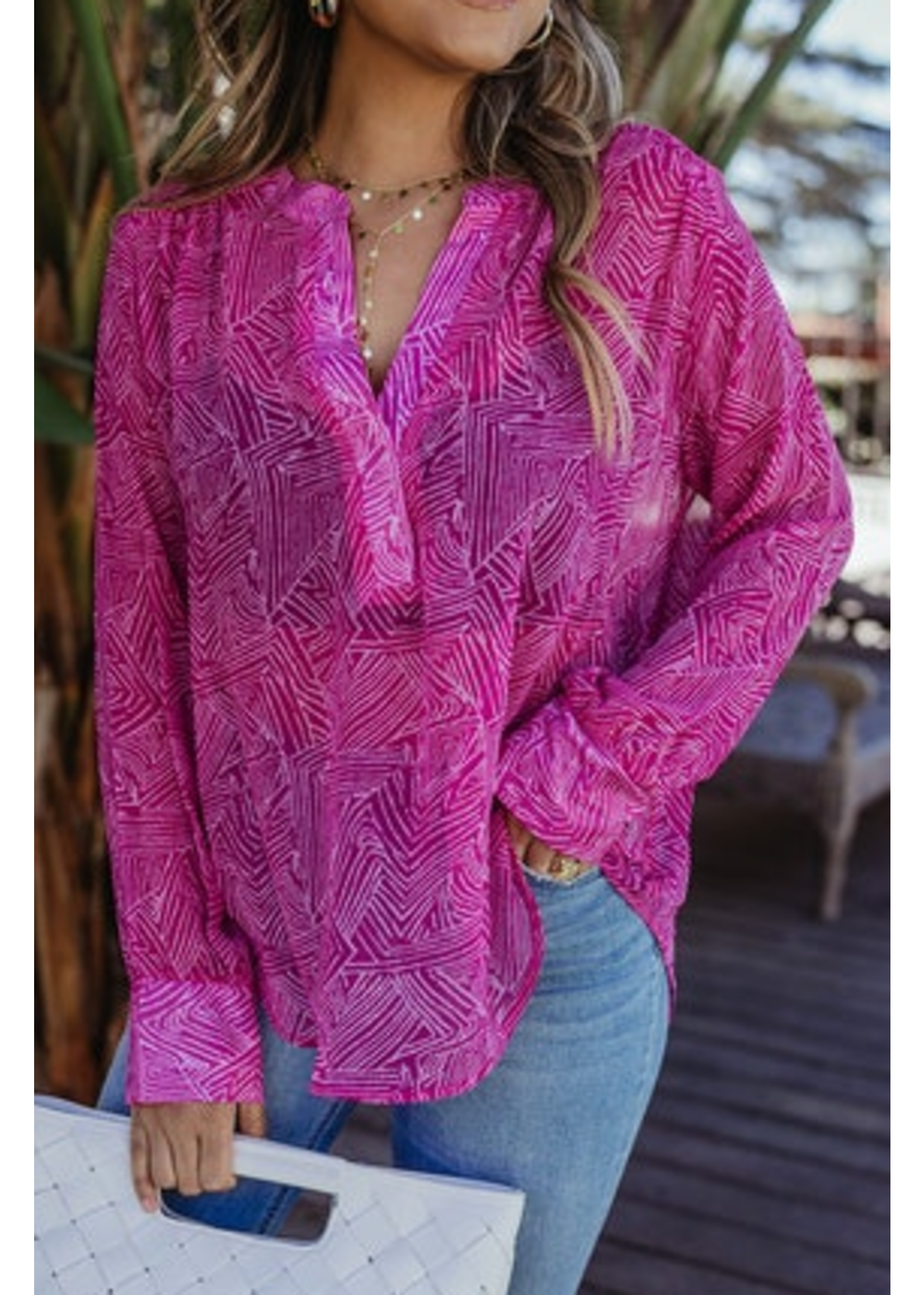 Veronica M Pink Geo Top