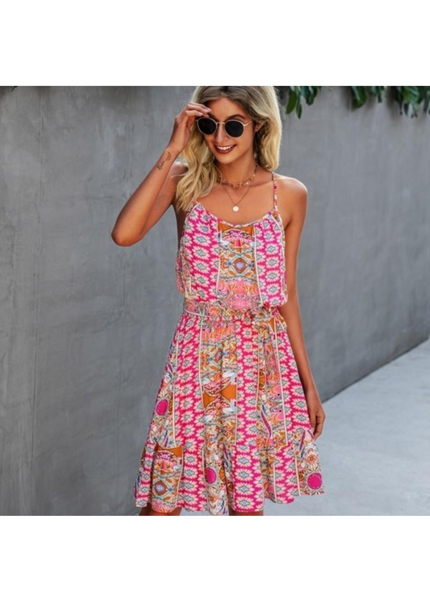 E Pretty Pink printed dress