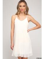 She & Sky White Pleated Dress