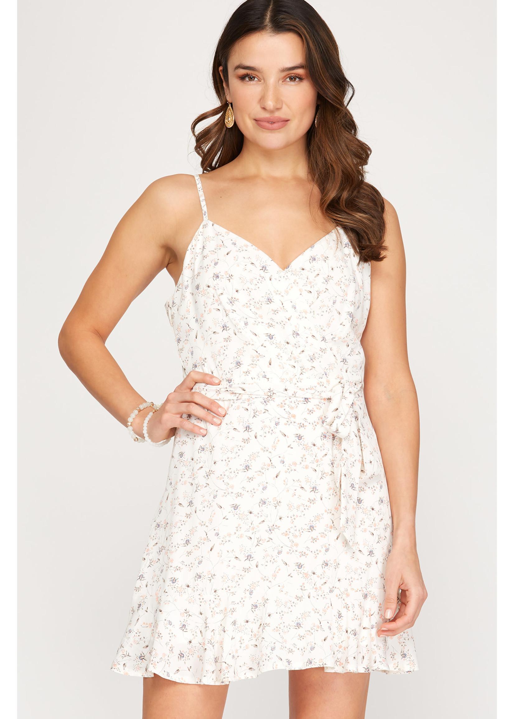 She & Sky Cream Printed Dress