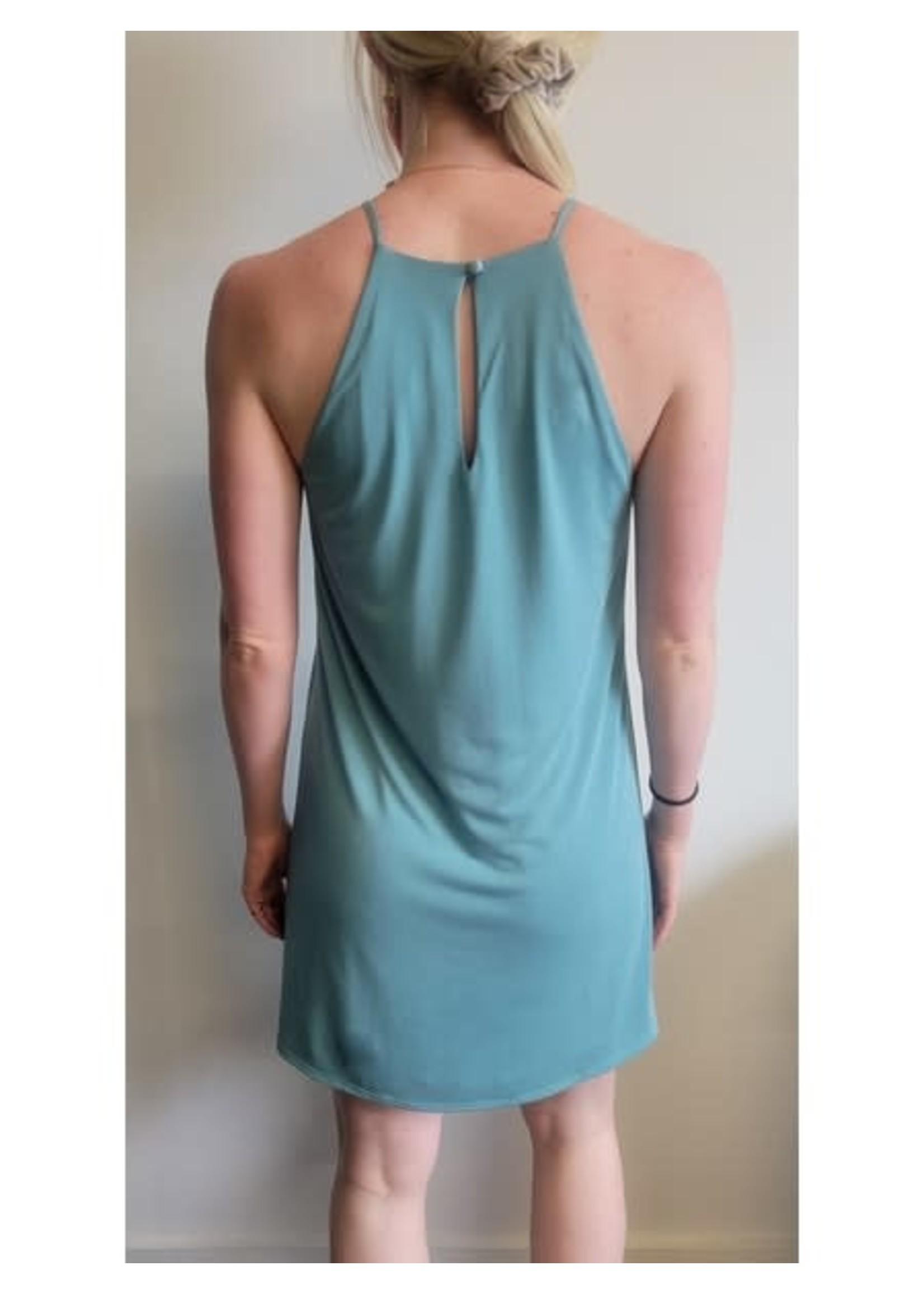 Veronica M Cupro Aqua Dress