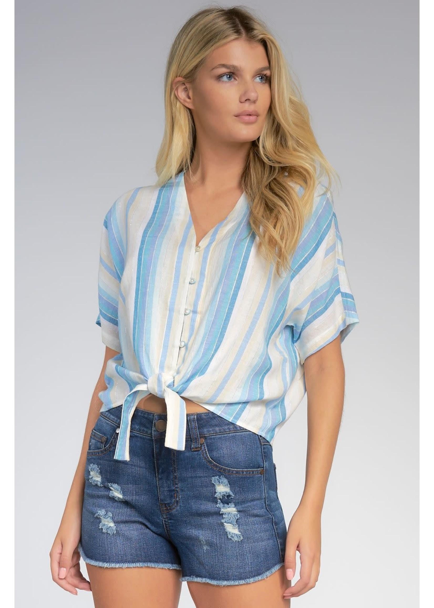 Elan Blue Stripe Top