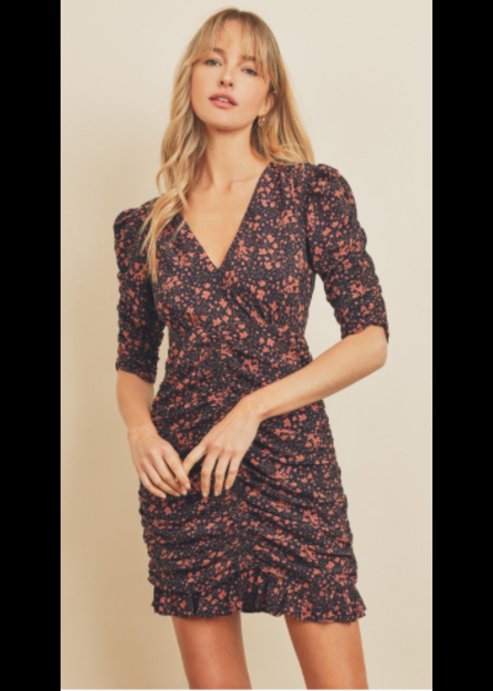 Dress Forum Floral Ruched Mini Dress