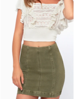 Free People Olive Denim Skirt