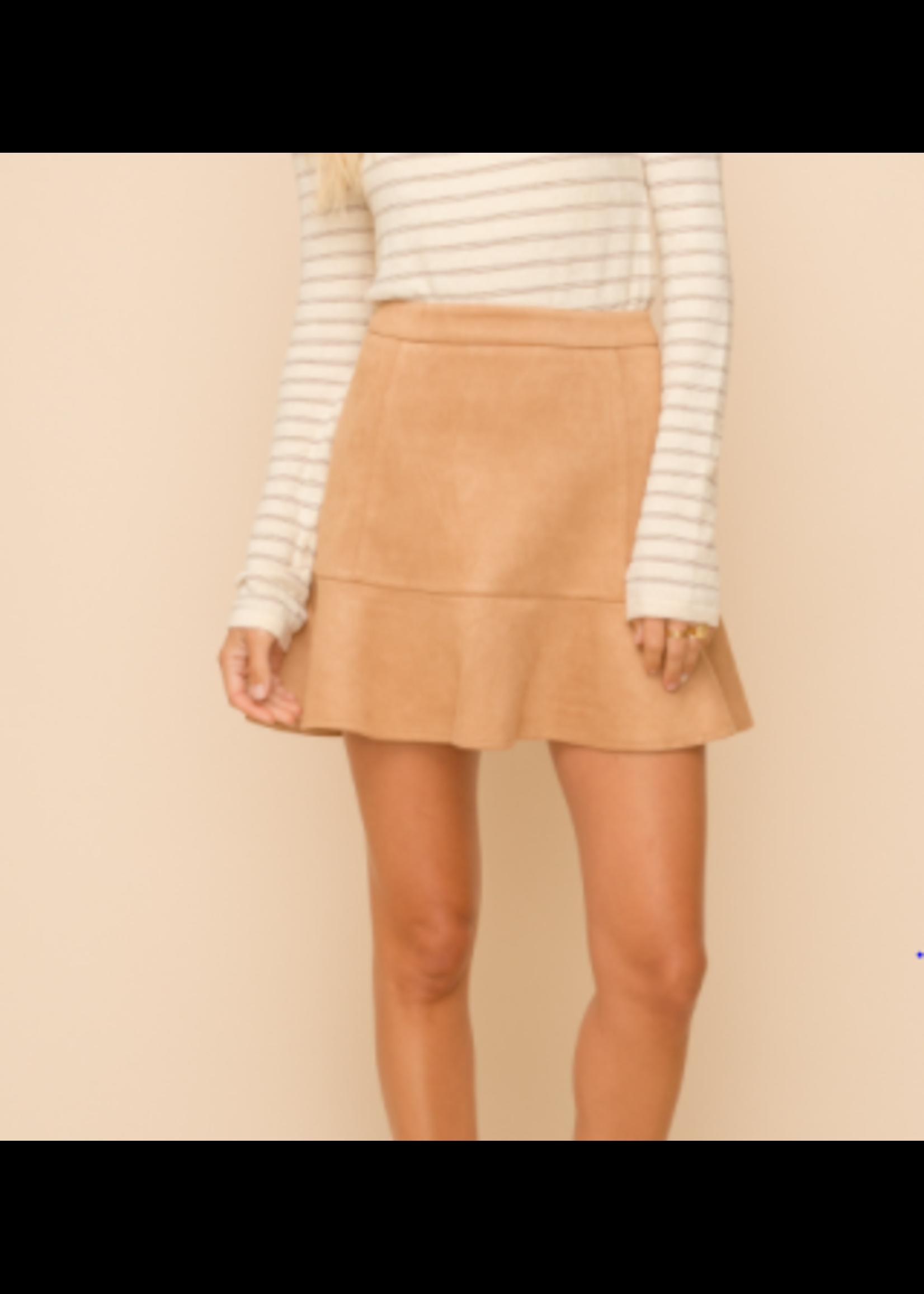 Hem & Thread Suede Skirt