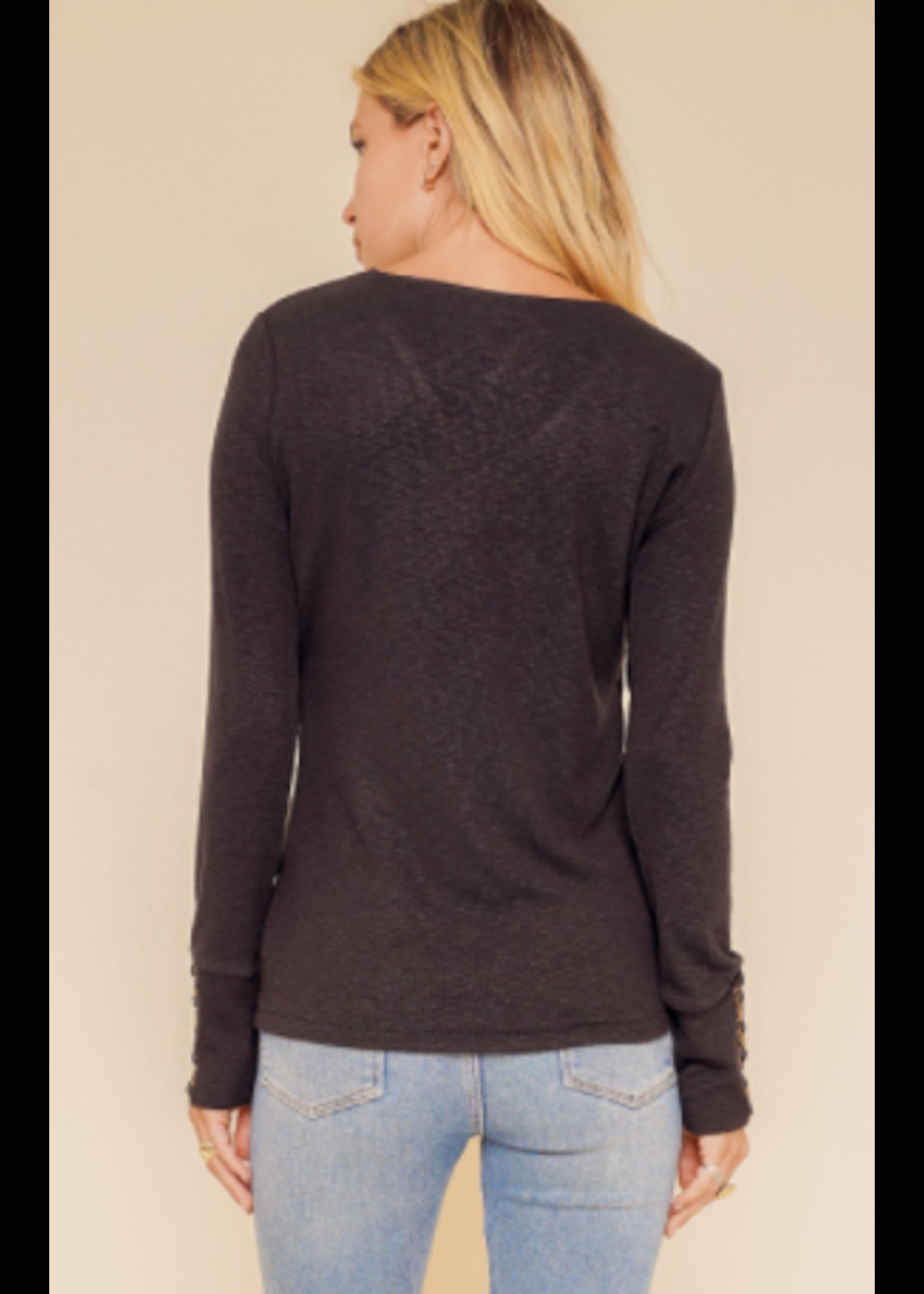 Hem & Thread Black V Sweater