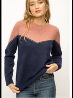 Mystree Mauve Colorblock Sweater