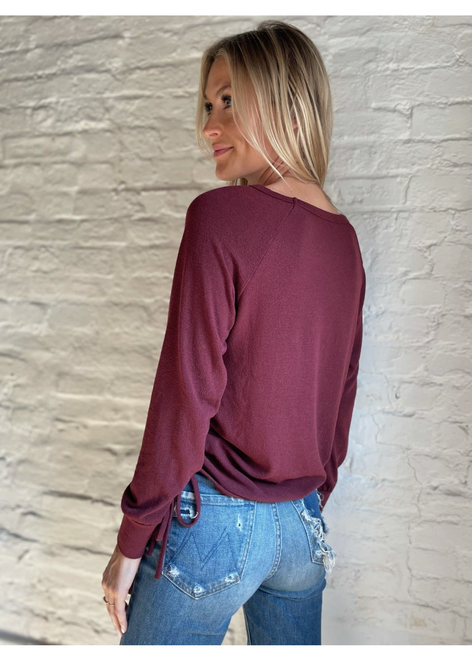 Six Fifty Wine Ruched Top