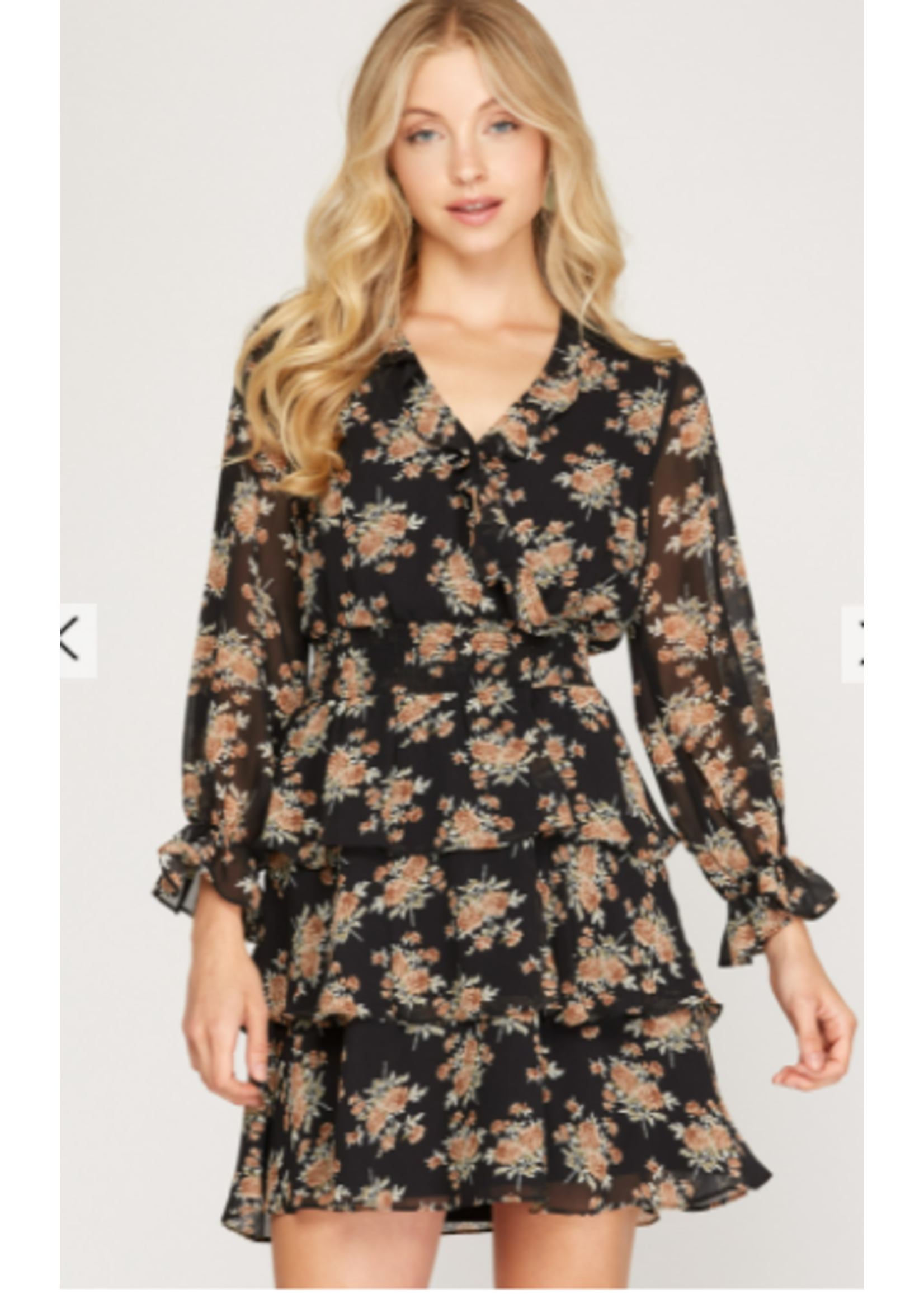 She & Sky Black Rose Dress