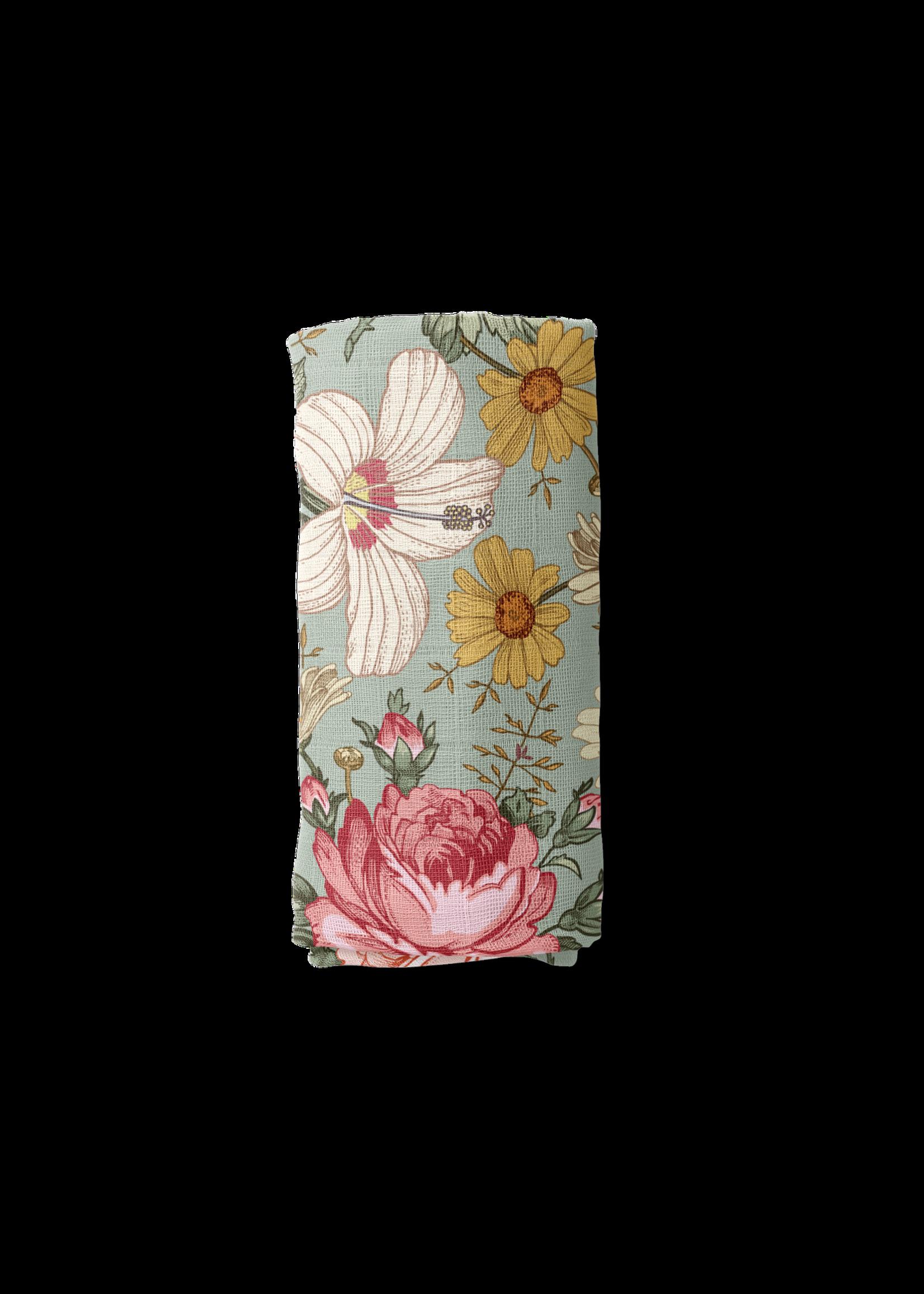 The mini scout Couverture en mousseline Garden floral Sea foam