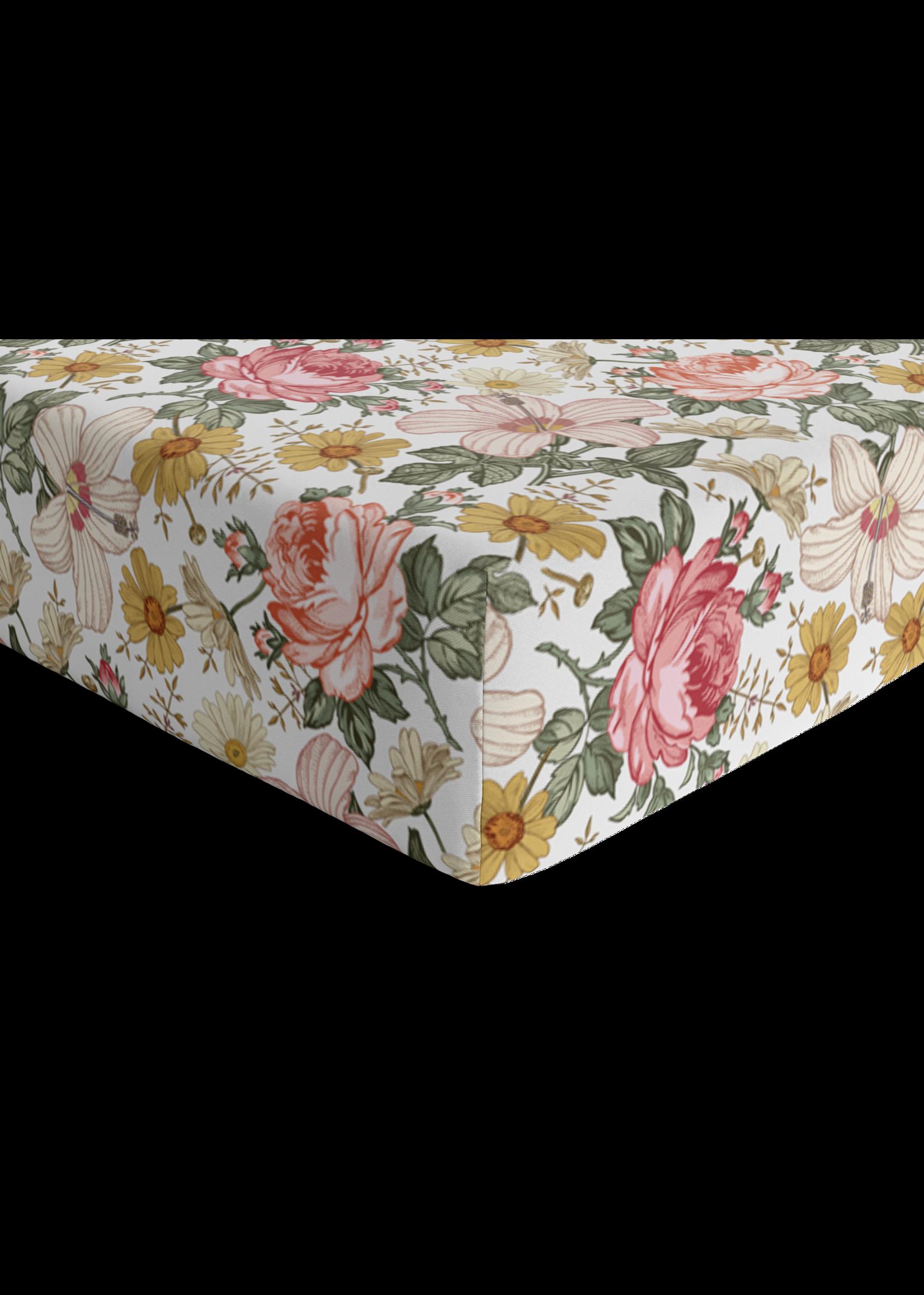 The mini scout Drap contour de bassinette Garden floral White