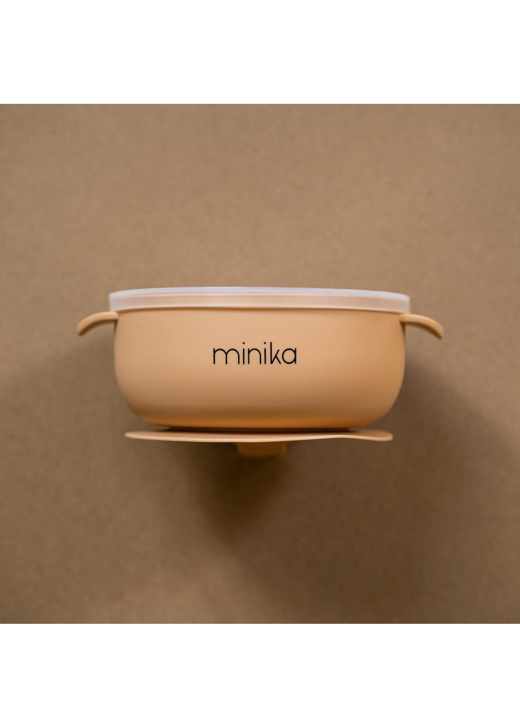 Minika Bol de silicone avec couvercle Natural