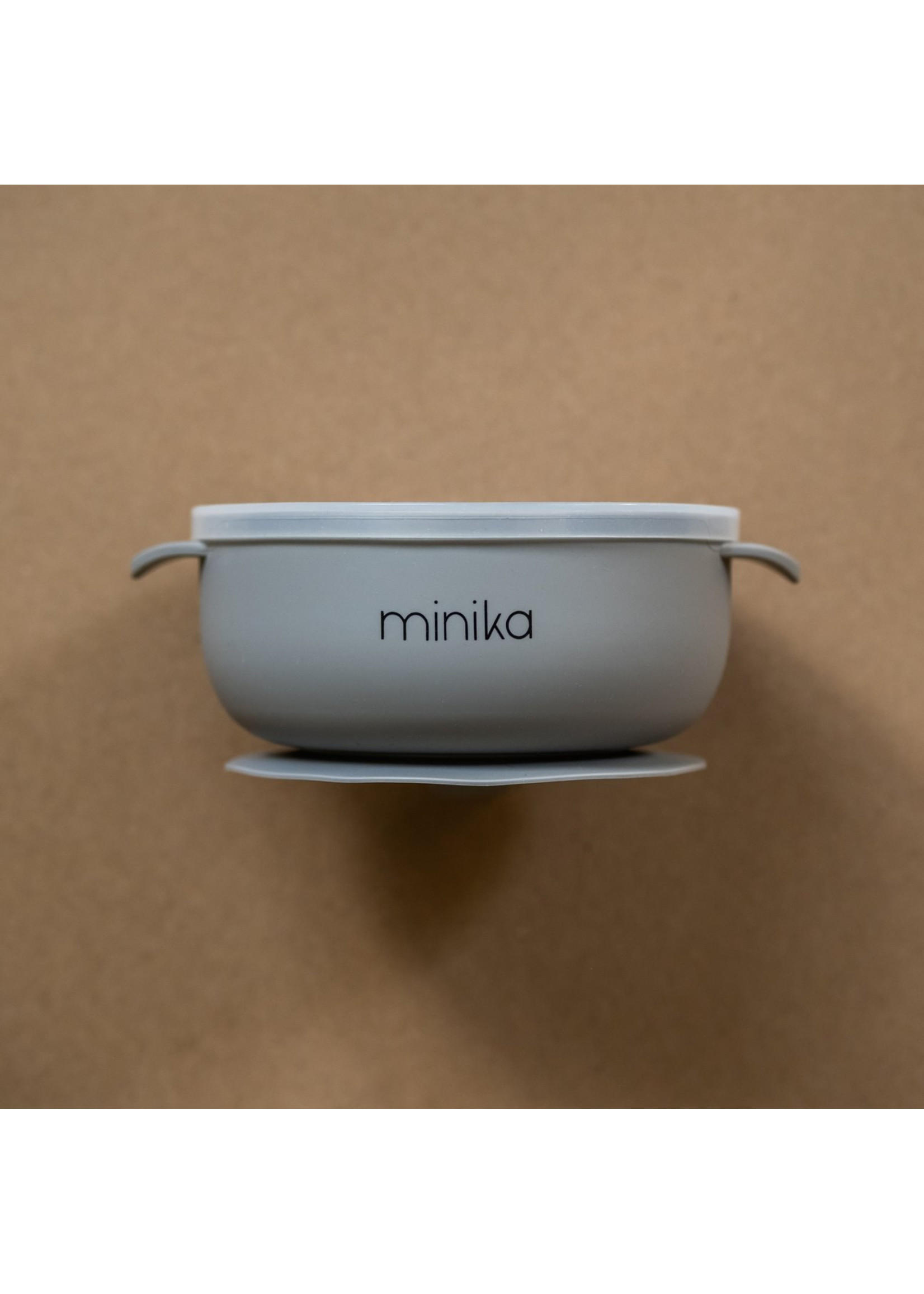Minika Bol de silicone avec couvercle Stone