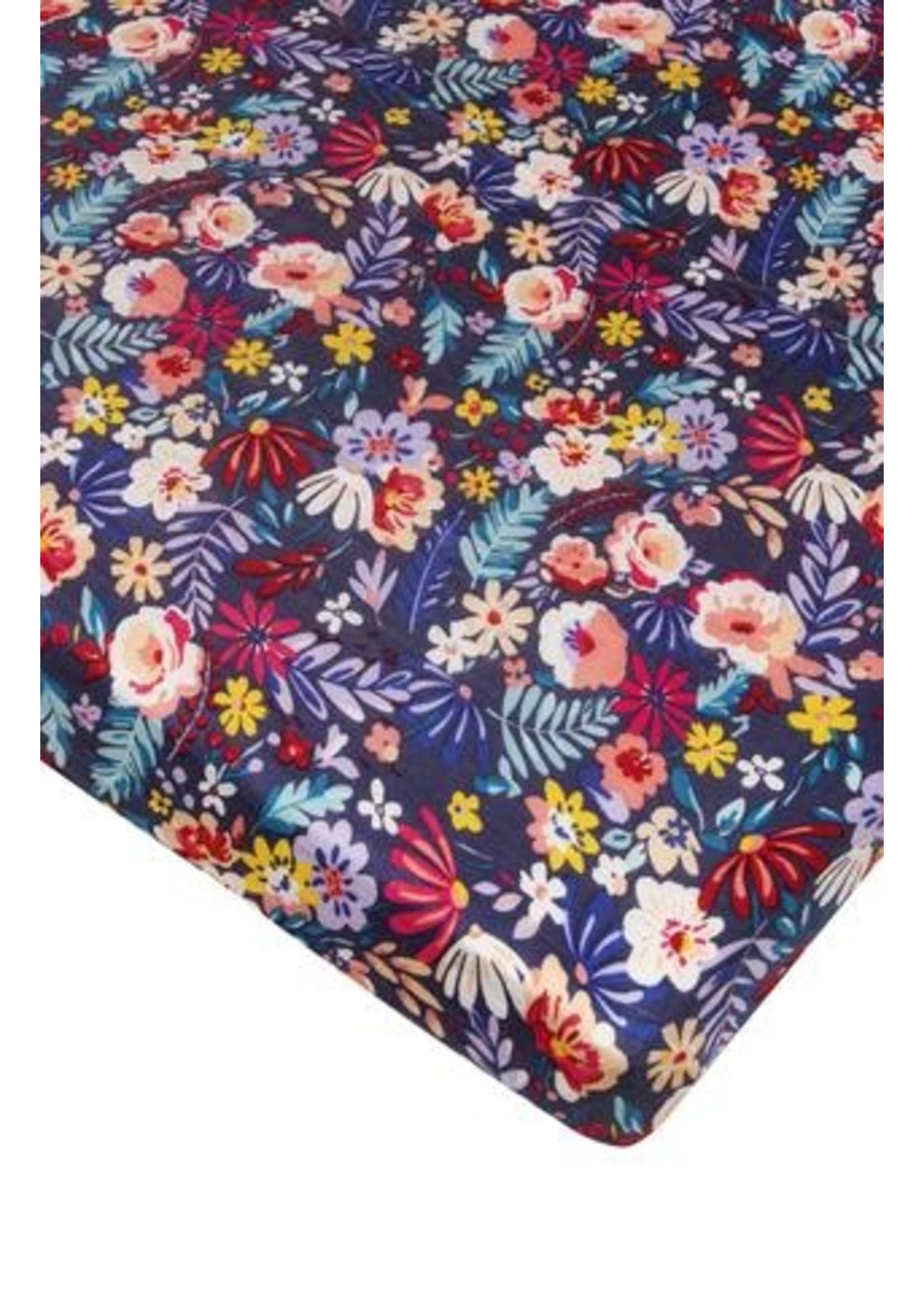 Loulou lollipop Drap contour de bassinette Dark field flowers