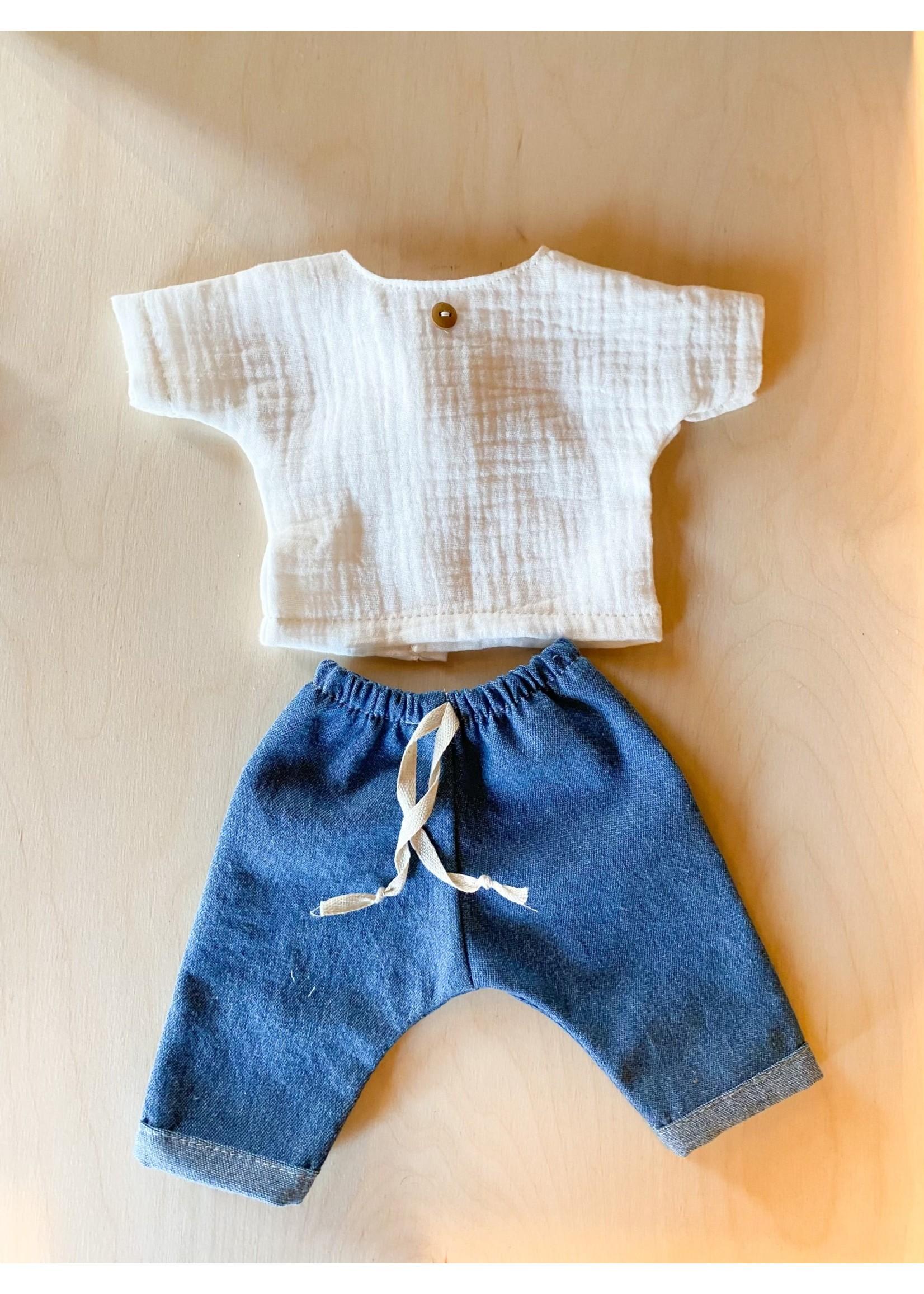 Les petites natures Vêtements pour poupée Jean et haut