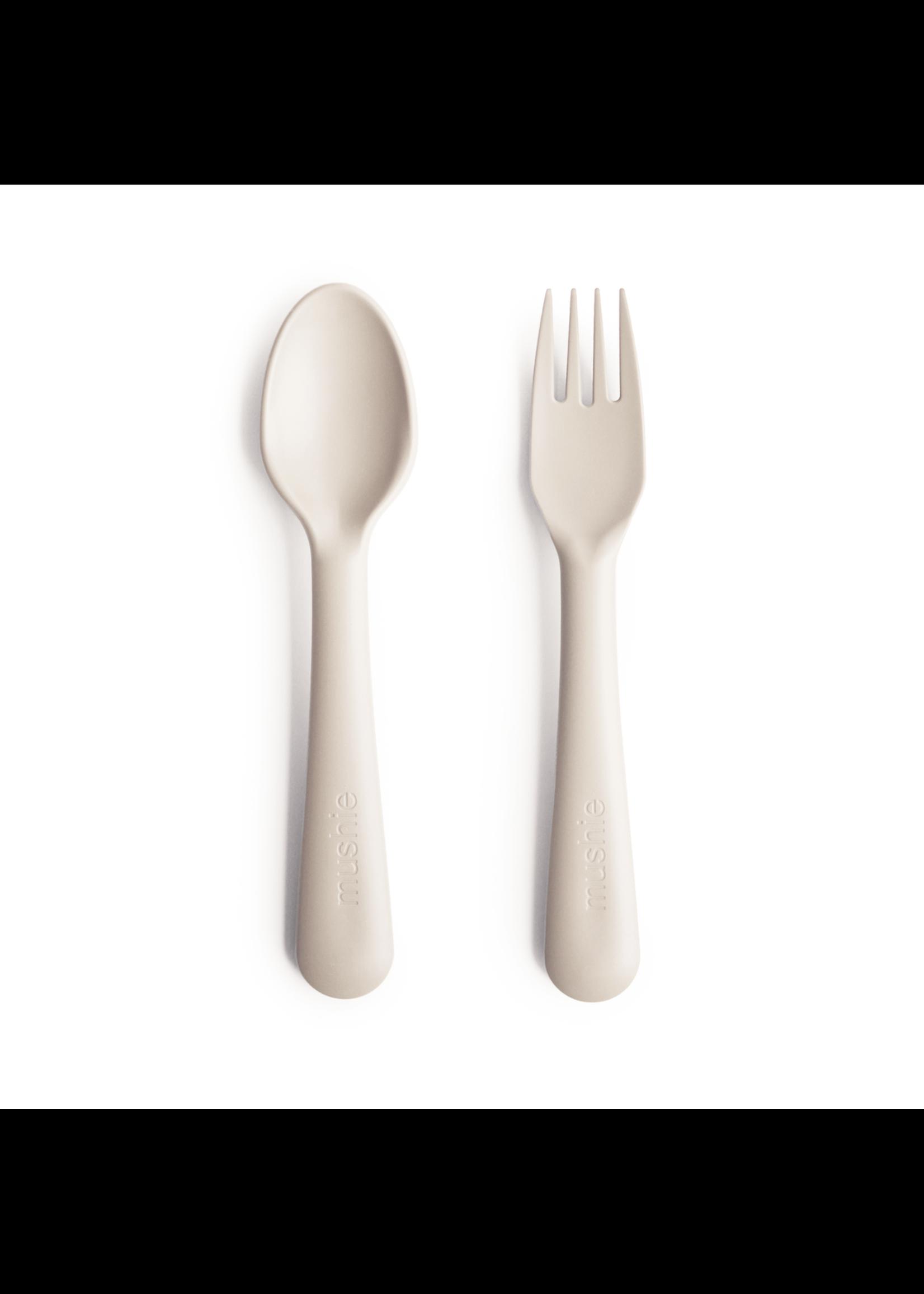 Mushie Fourchette et cuillère Ivory