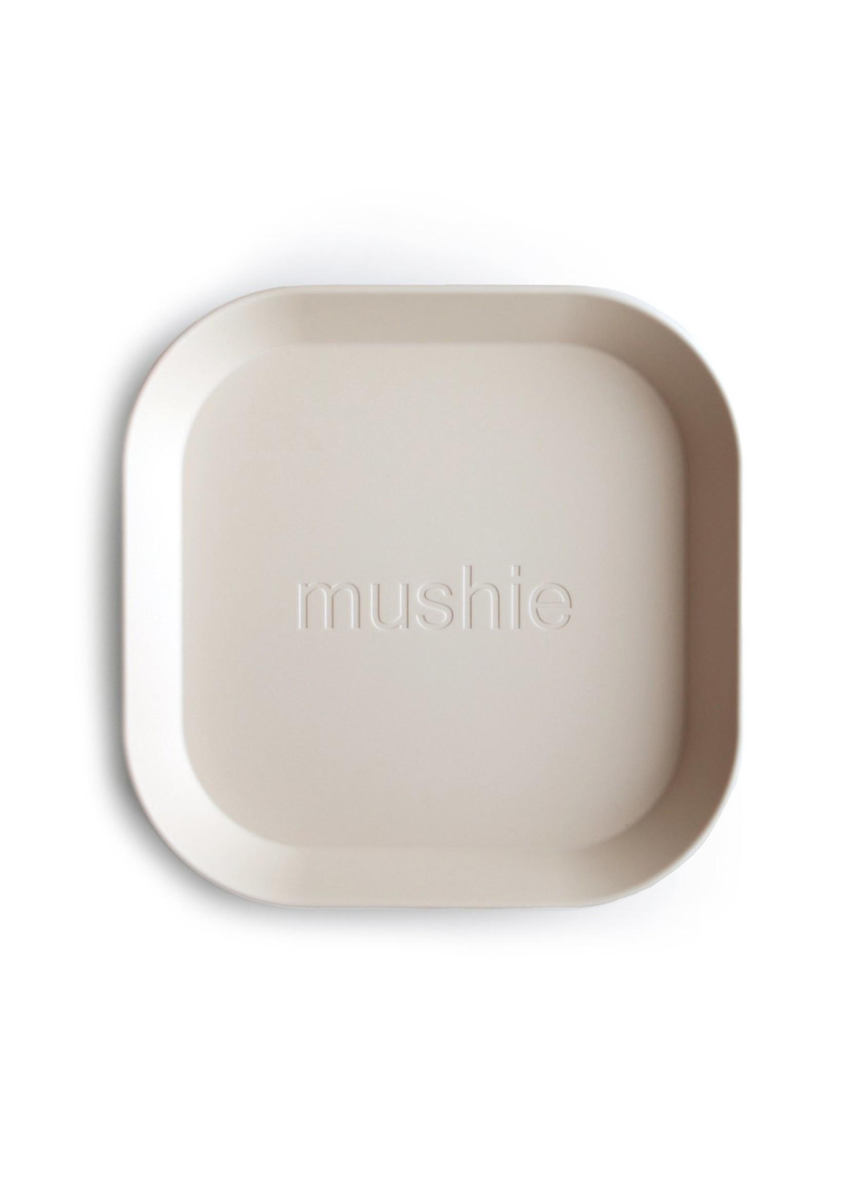 Mushie Ensemble de 2 assiettes carrées Ivory