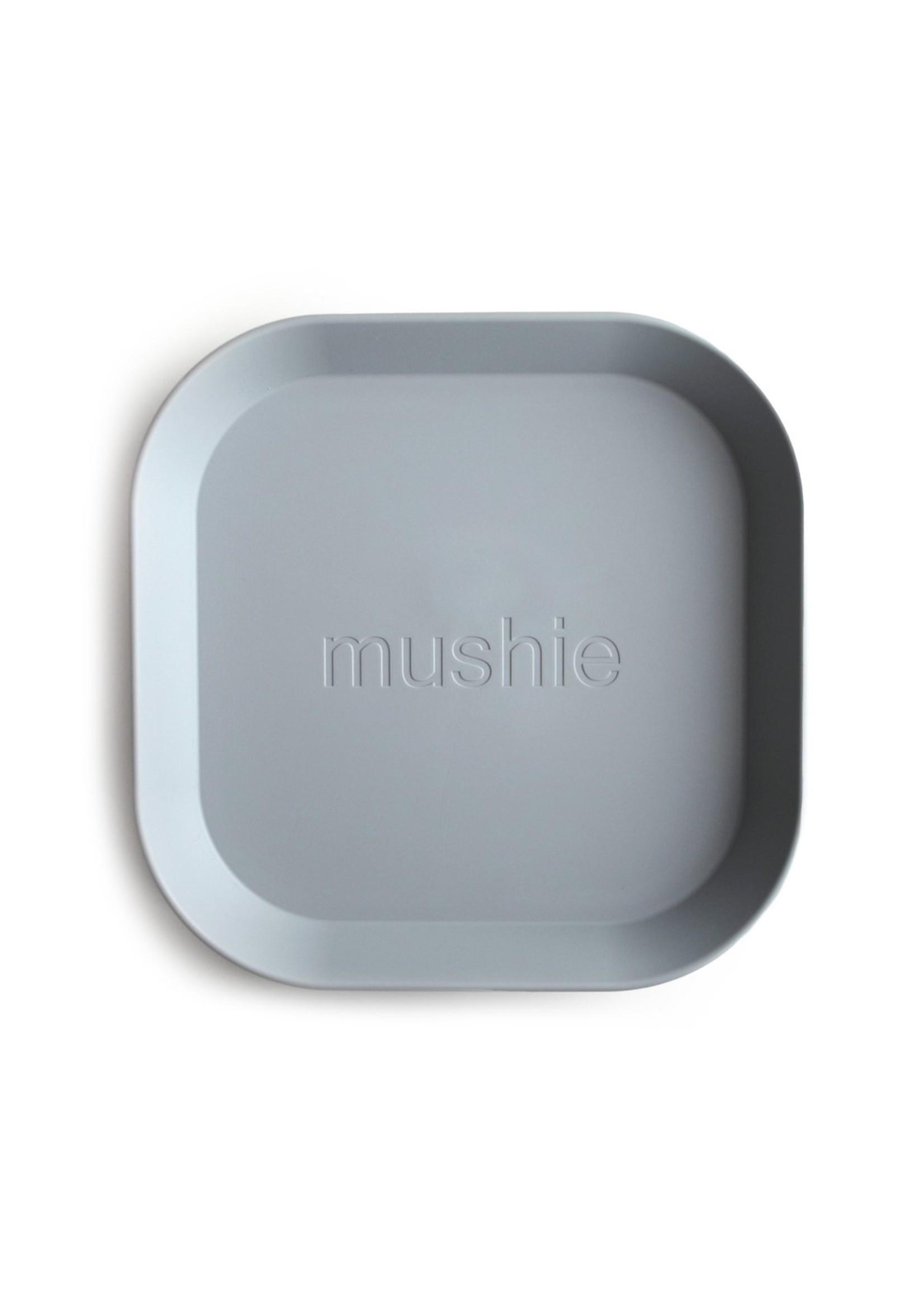 Mushie Ensemble de 2 assiettes carrées Cloud