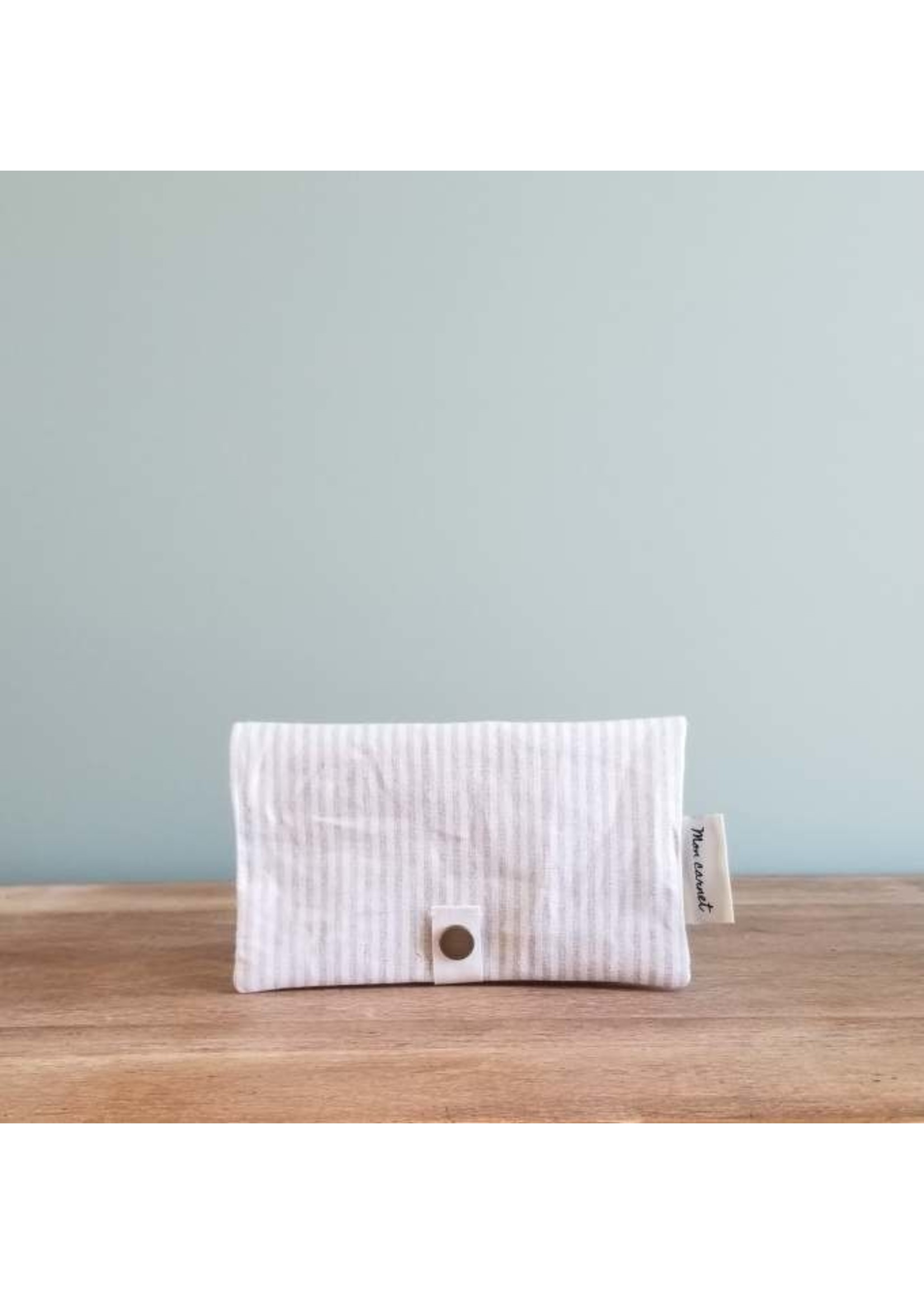 Sauge & co Protège carnet Linen stripes Beige