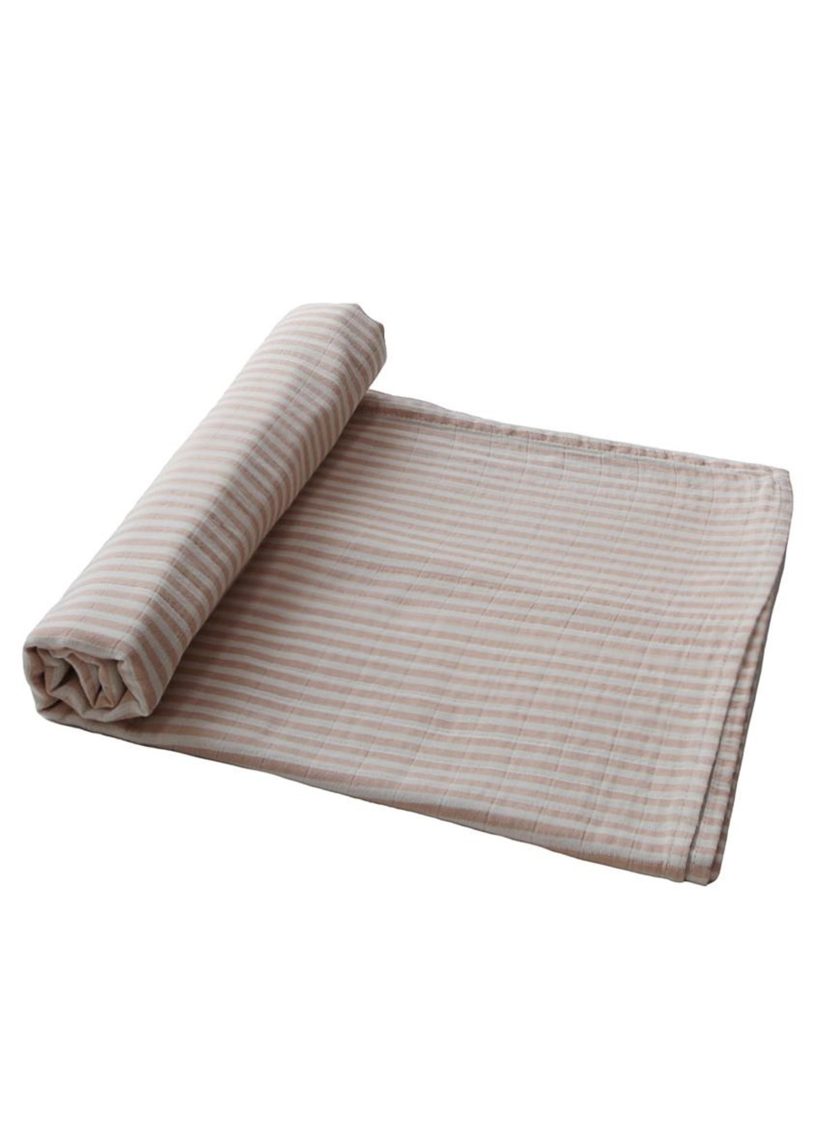 Mushie Couverture en mousseline Natural Stripes