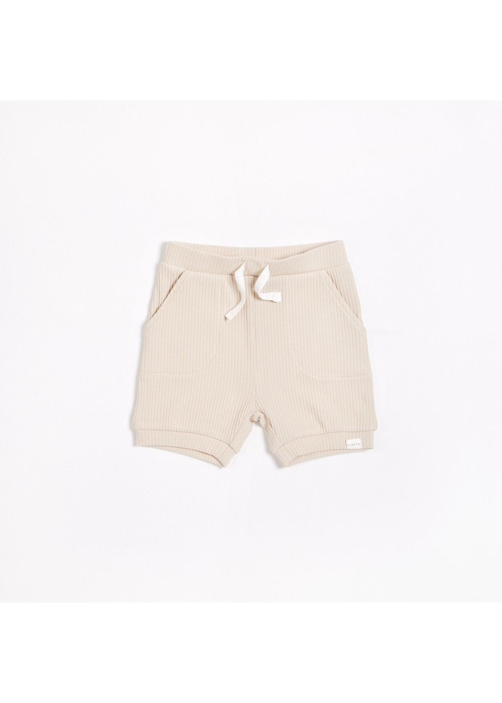 Petit Lem Short en tricot côtelé Naturel