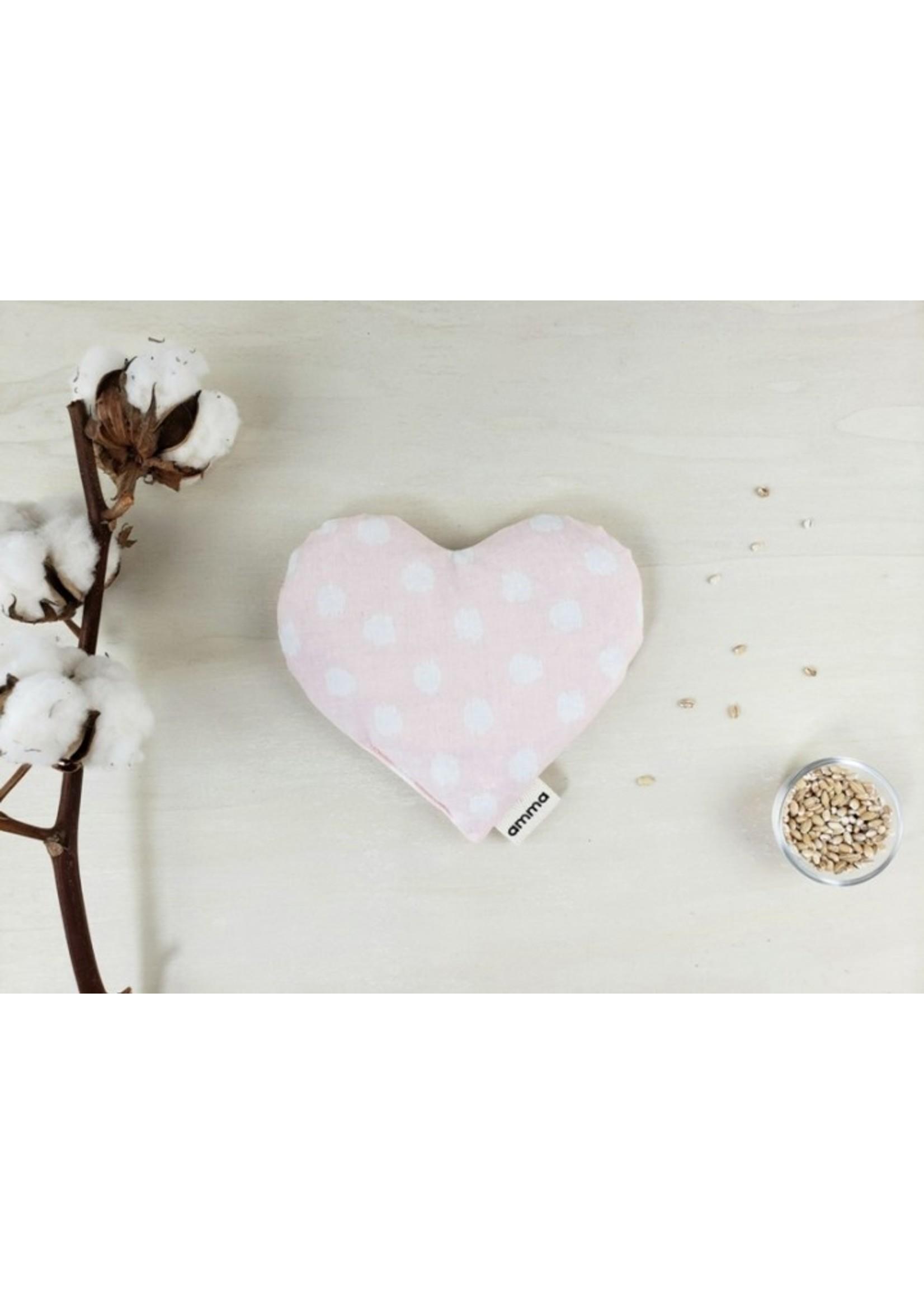 Amma Thérapie Coussin réconfort cœur -Picoté rose et blanc