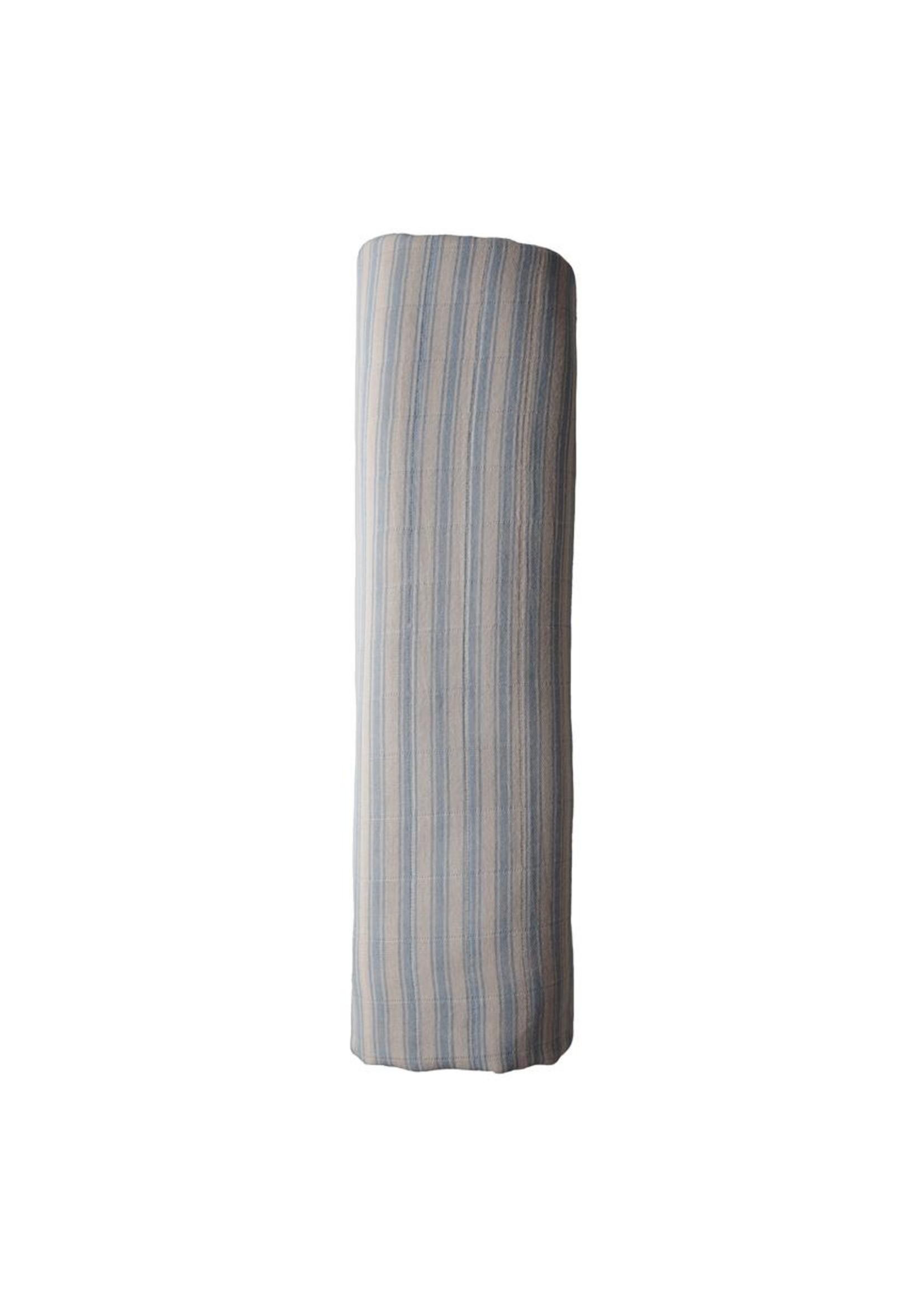 Mushie Couverture en mousseline Blue stripes