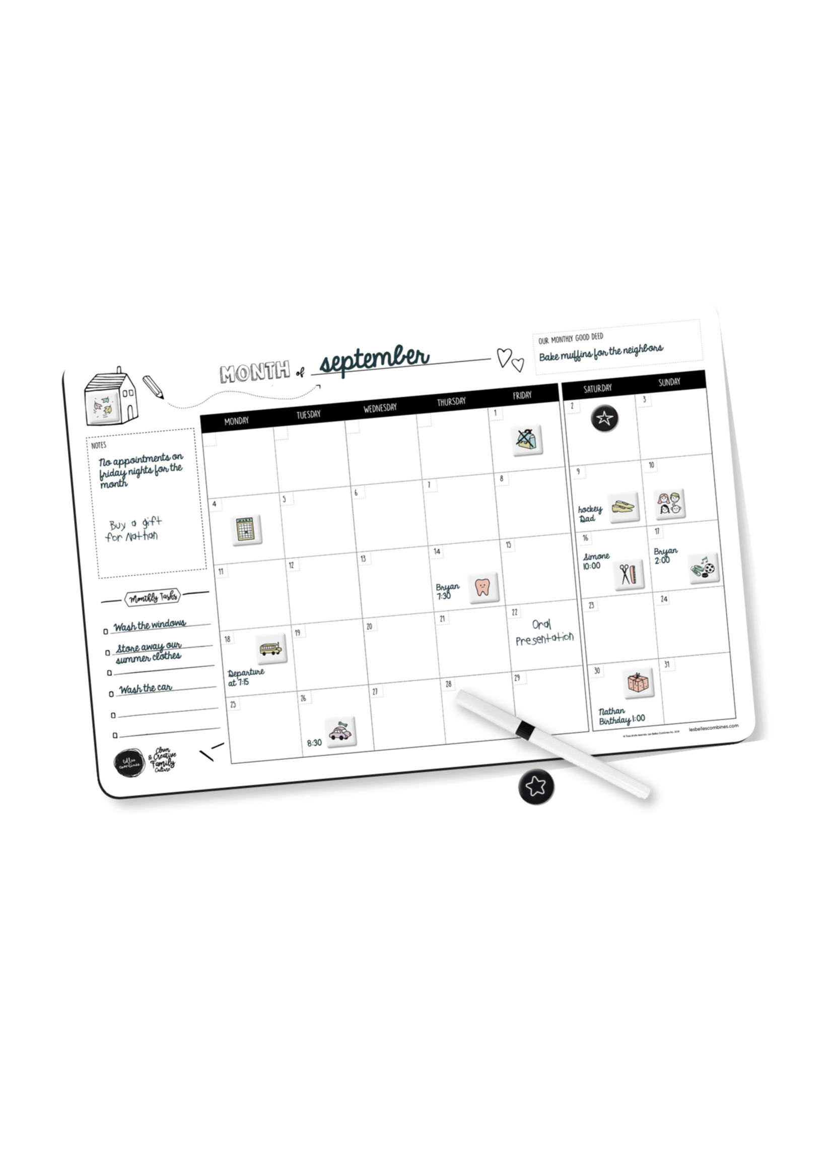 Les belles combines Monthly family planner