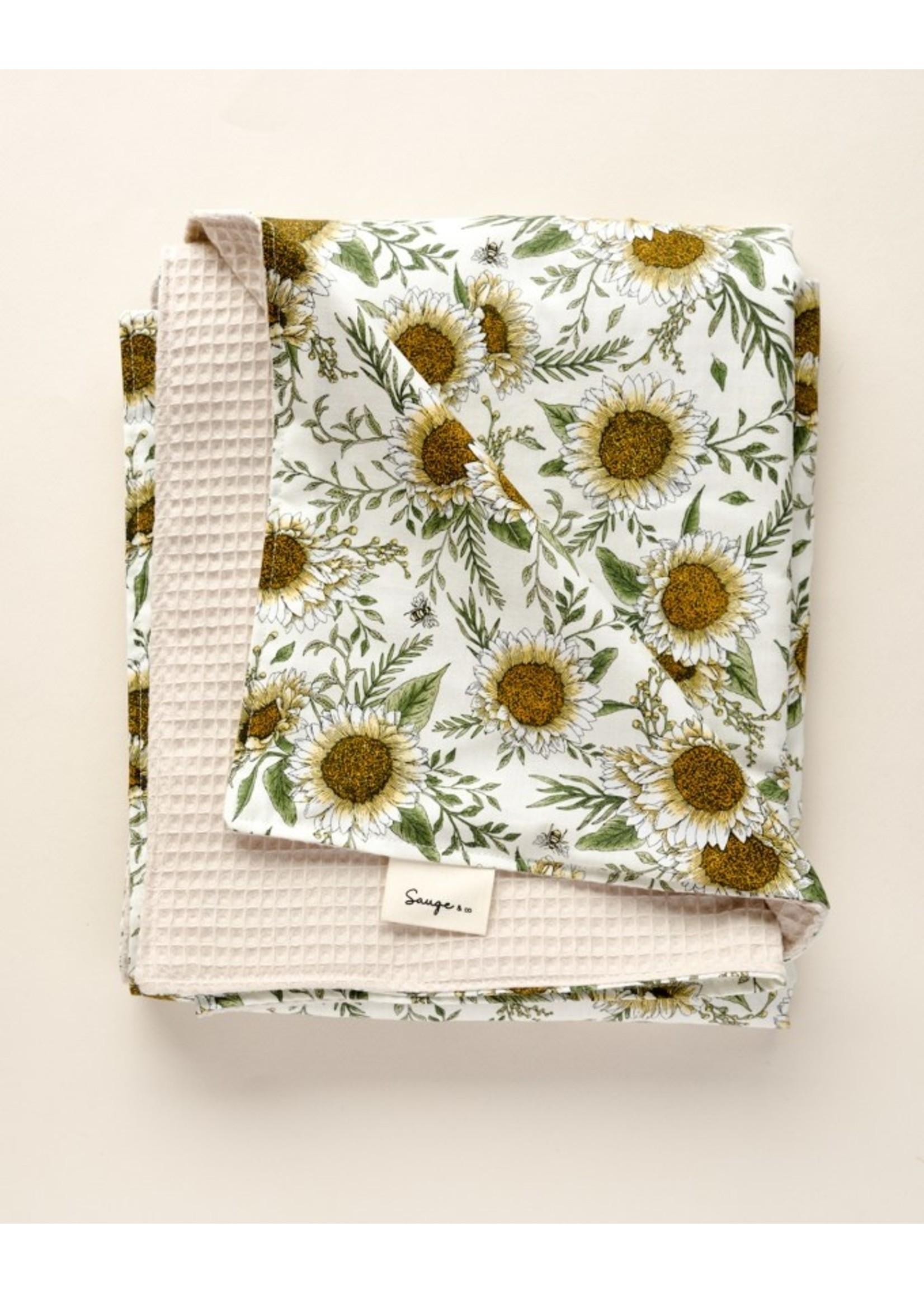 Sauge & co Couverture gaufrée Natural sunflowers