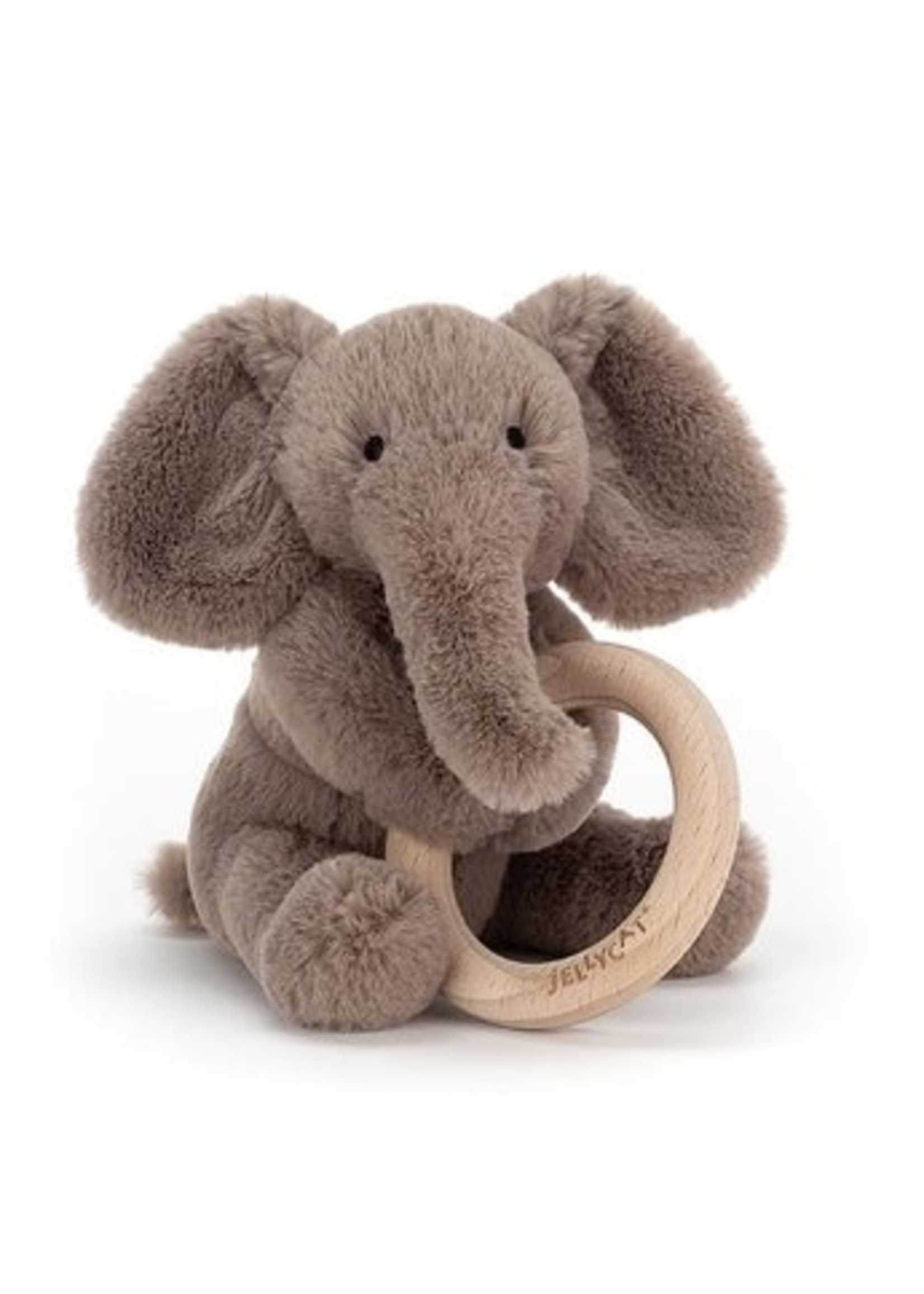 Jellycat Hochet avec anneau de bois Éléphant