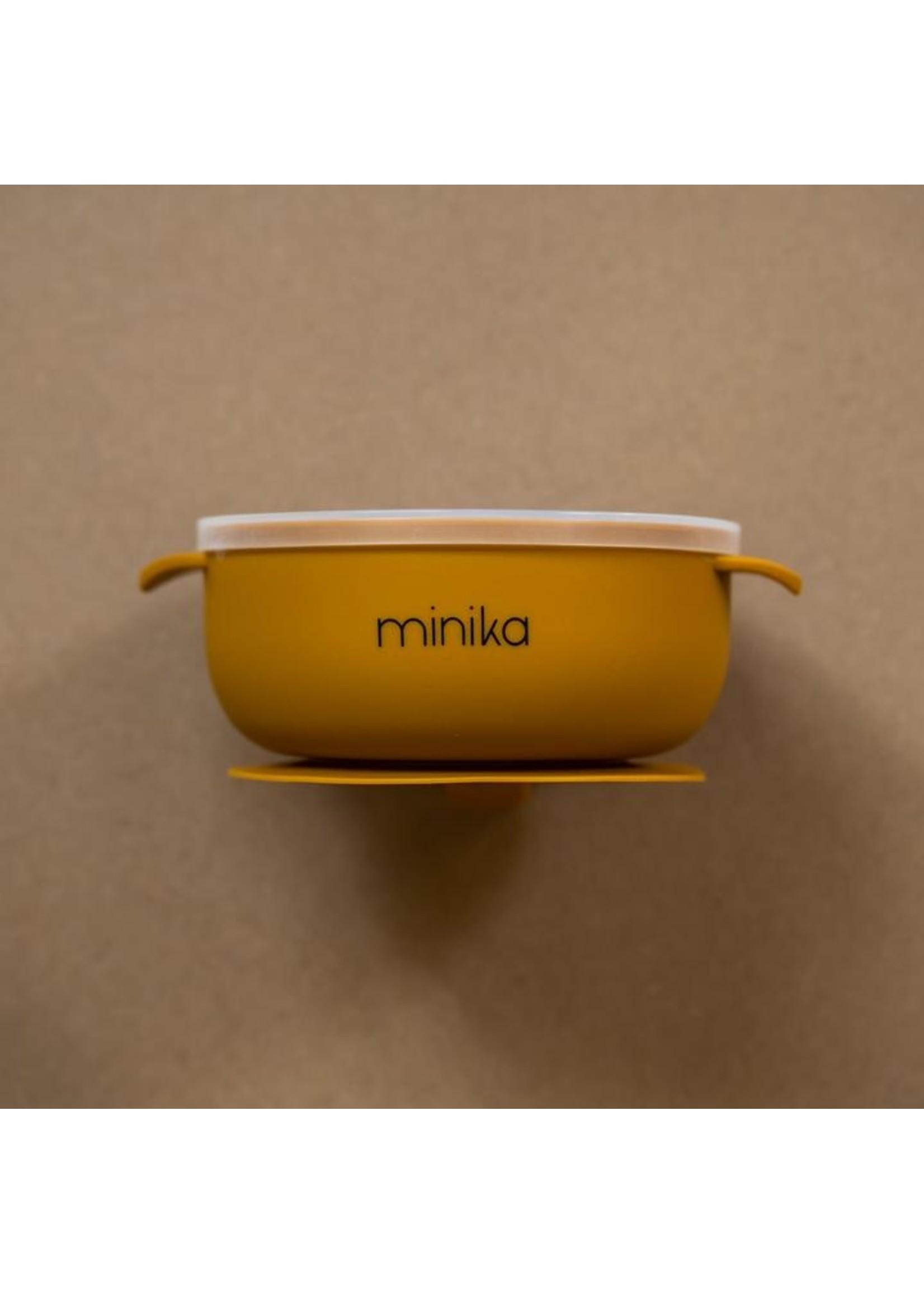 Minika Bol de silicone avec couvercle Ocre