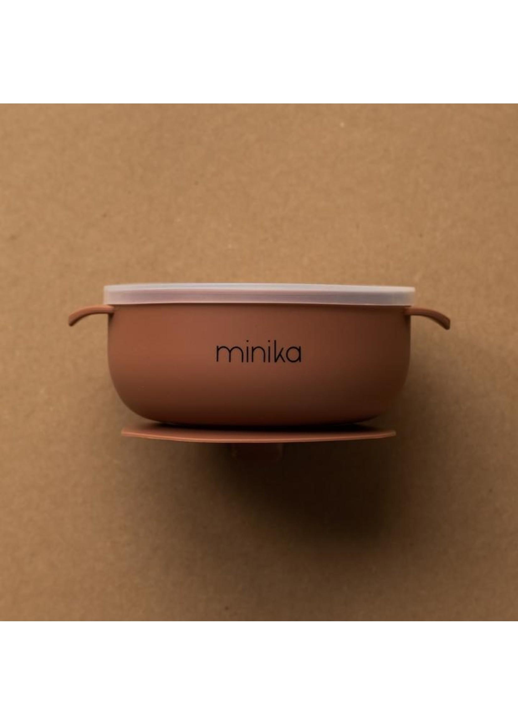 Minika Bol de silicone avec couvercle Cacao