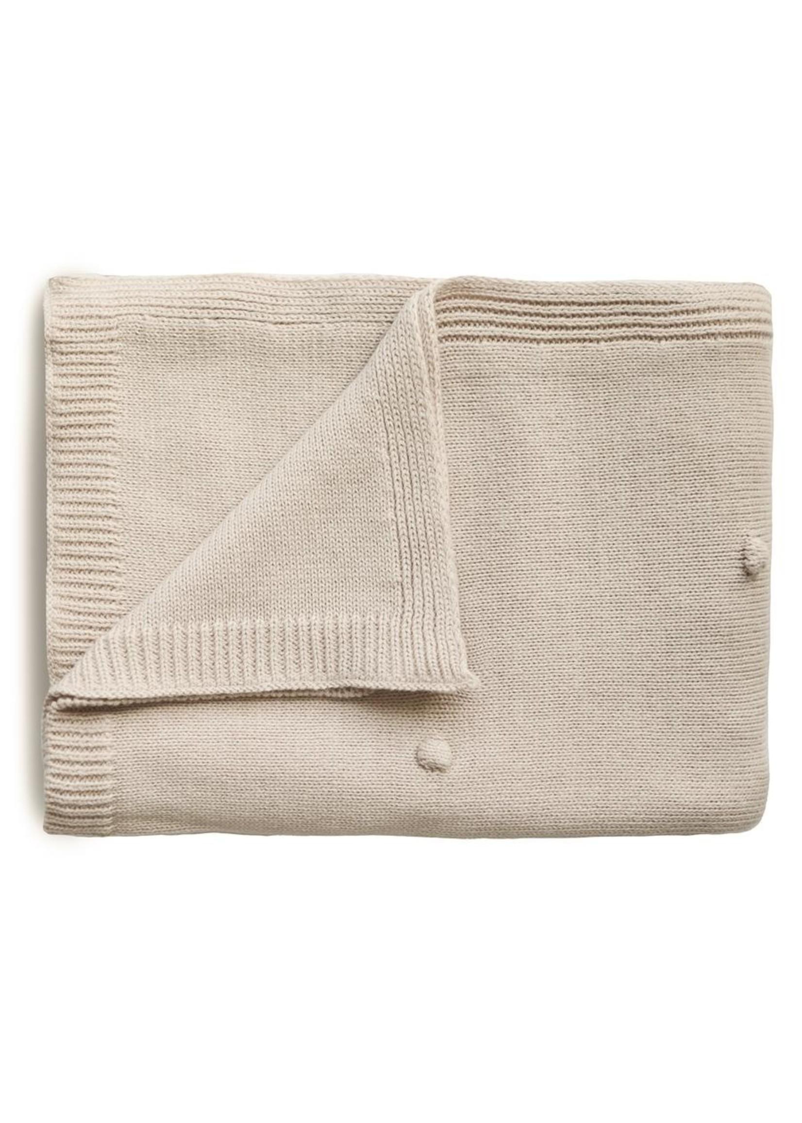 Mushie Couverture en tricot à pois Blanc cassé