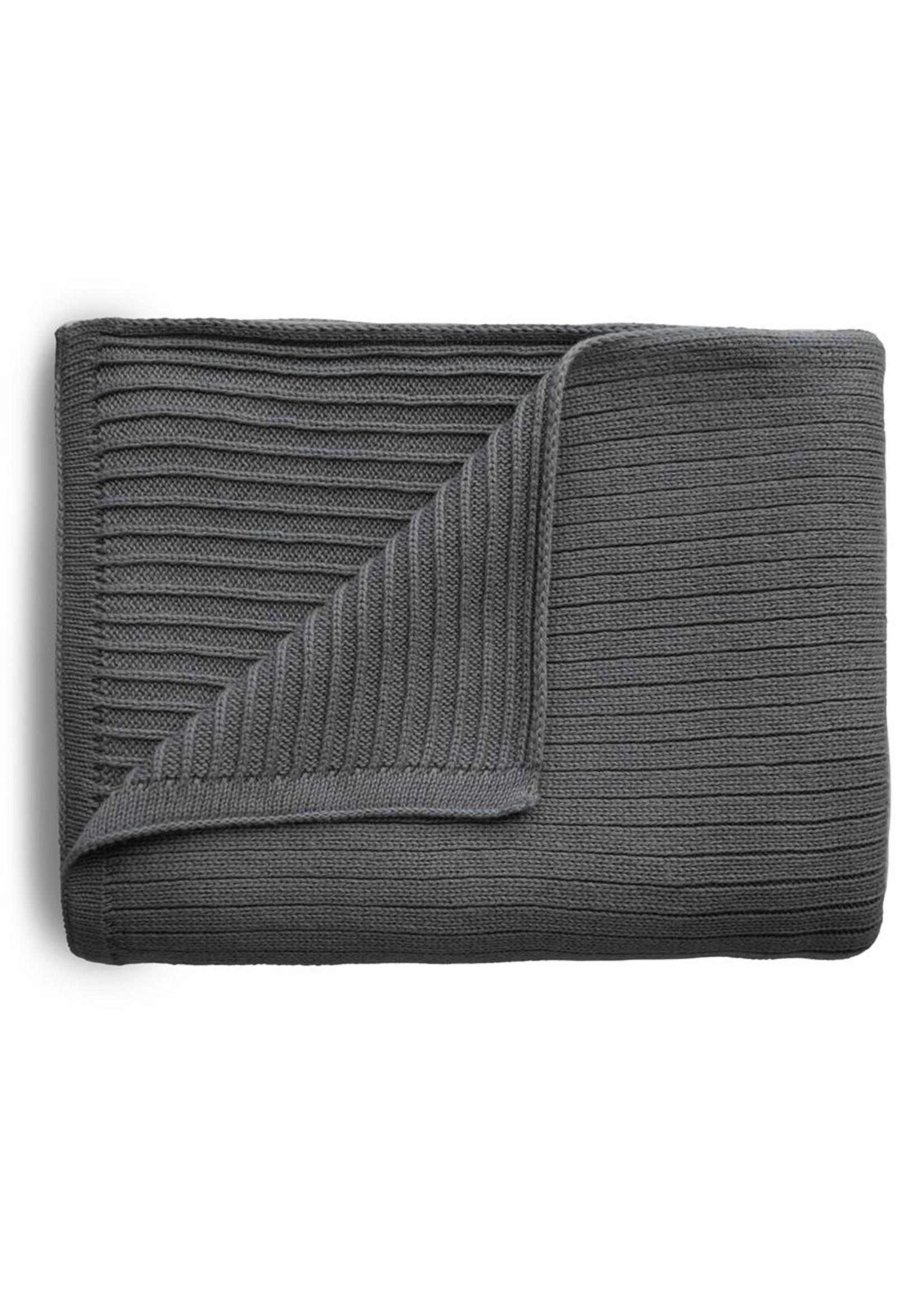 Mushie Couverture en tricot côtelé Gris