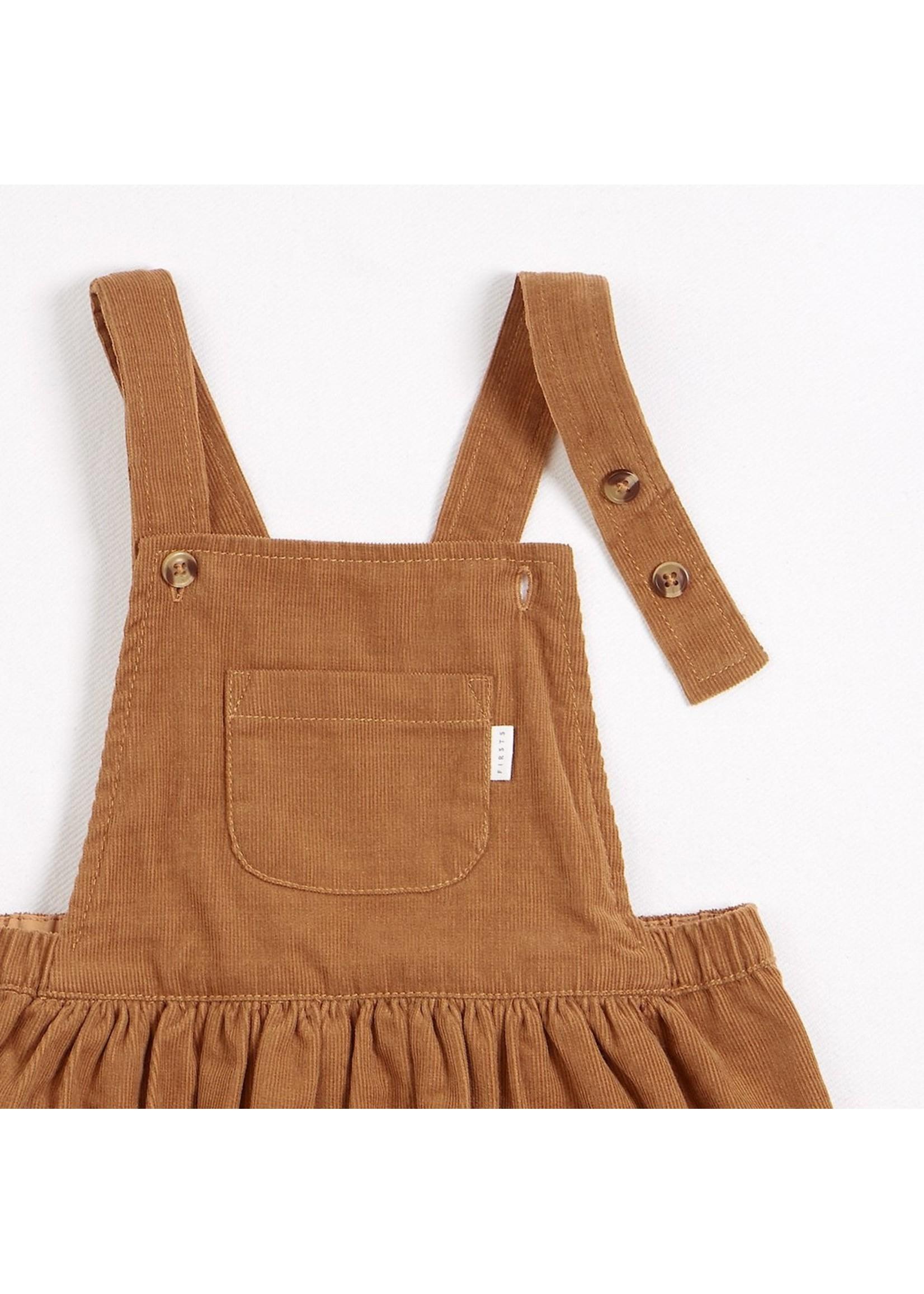 Petit Lem Ensemble robe salopette à rayures dorées