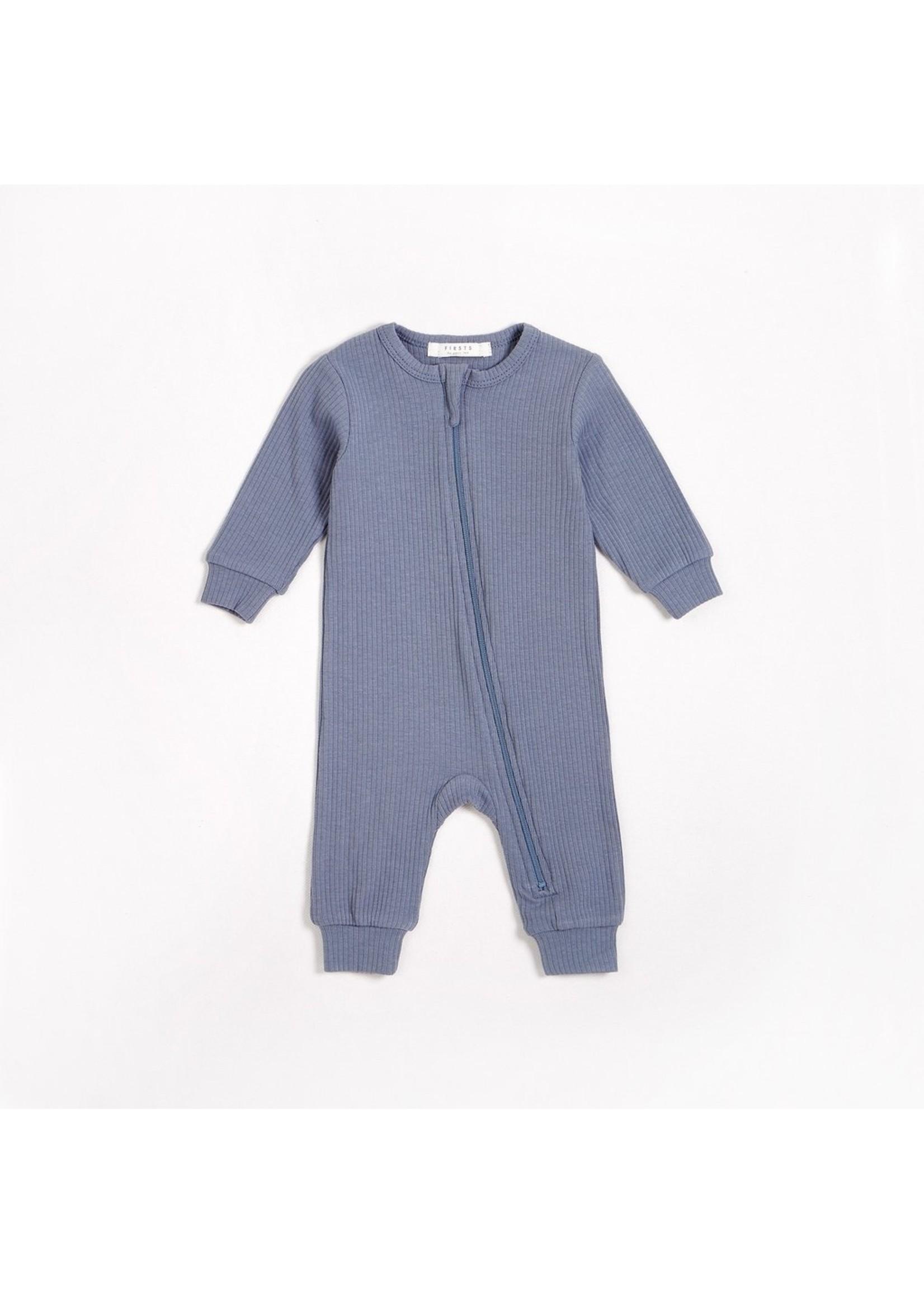 Petit Lem Romper en tricot côtelé Bleu crépuscule