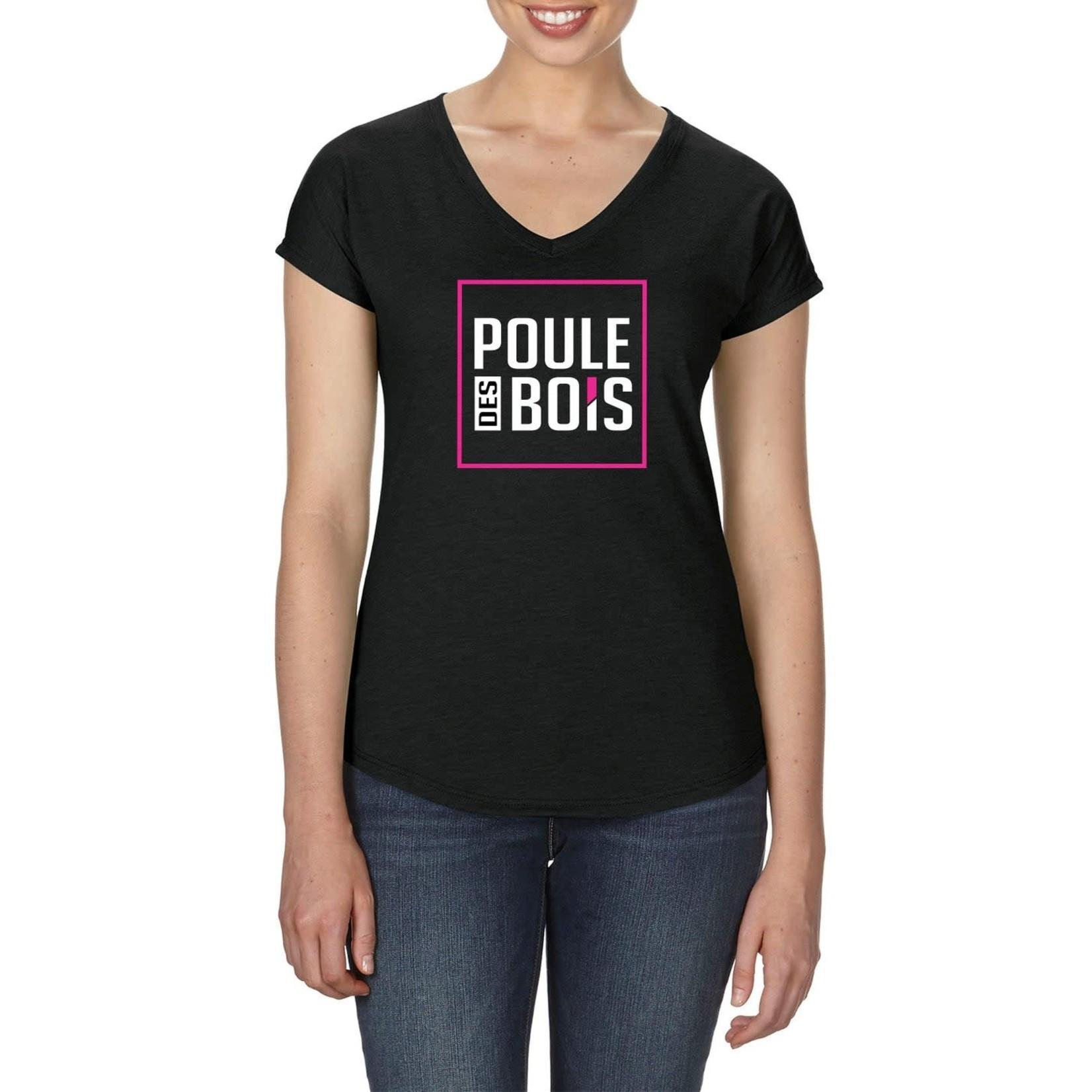 Poules des Bois V-neck T-Shirt polyester-coton Black LOGO Poule Des Bois size Large