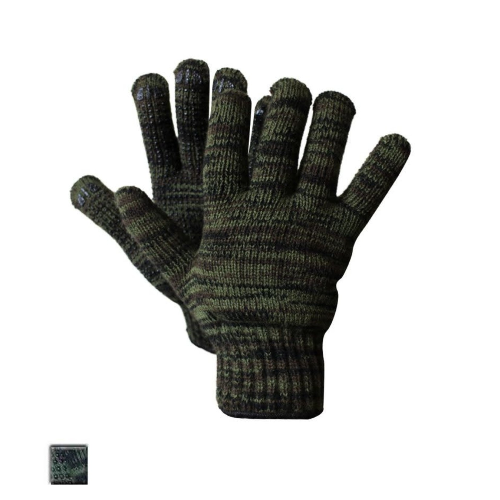 Jackfield Lined Knit Camo Gloves With Pvc Dots