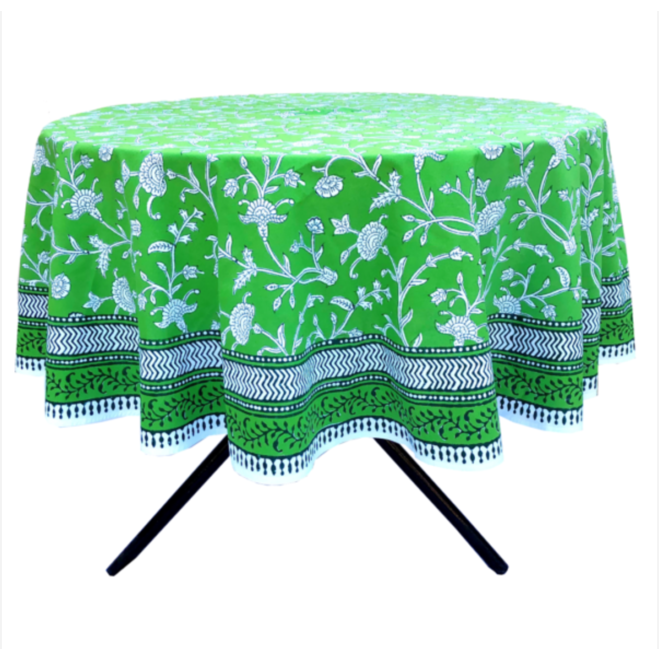 English Green Round Tablecloth