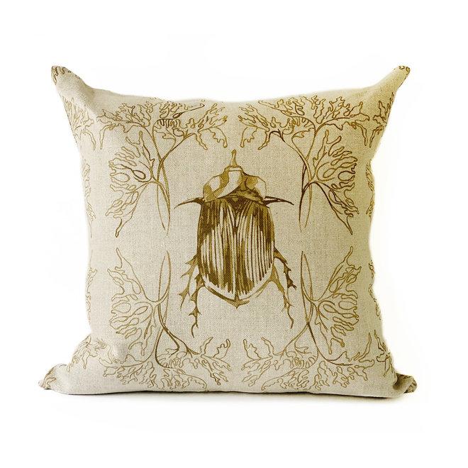 Beetle & Bud Pillow in Brass