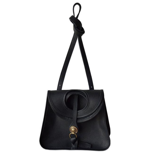 Amelie Crossbody Leather Bag, Noir