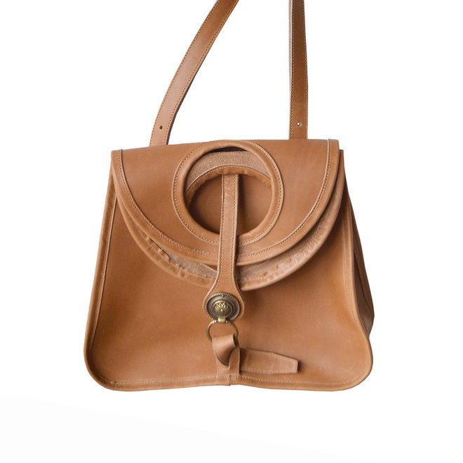 Amelie Crossbody Leather Bag, Natural