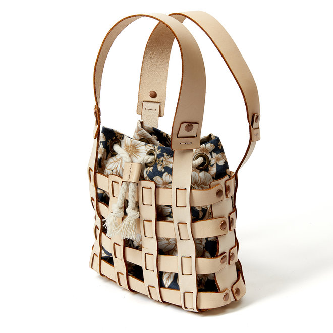 Woven Leather Shoulder Bag with Blue Insert