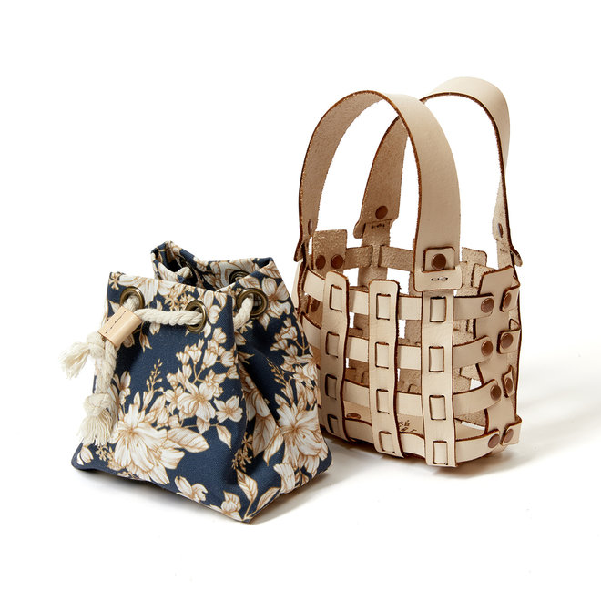 Mini Woven Leather Bag with Blue Insert
