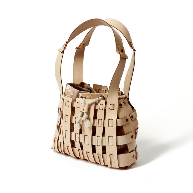 Small Woven Leather Bag with Sienna Insert
