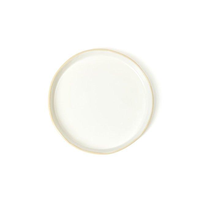 Tan Rim Stoneware Plate